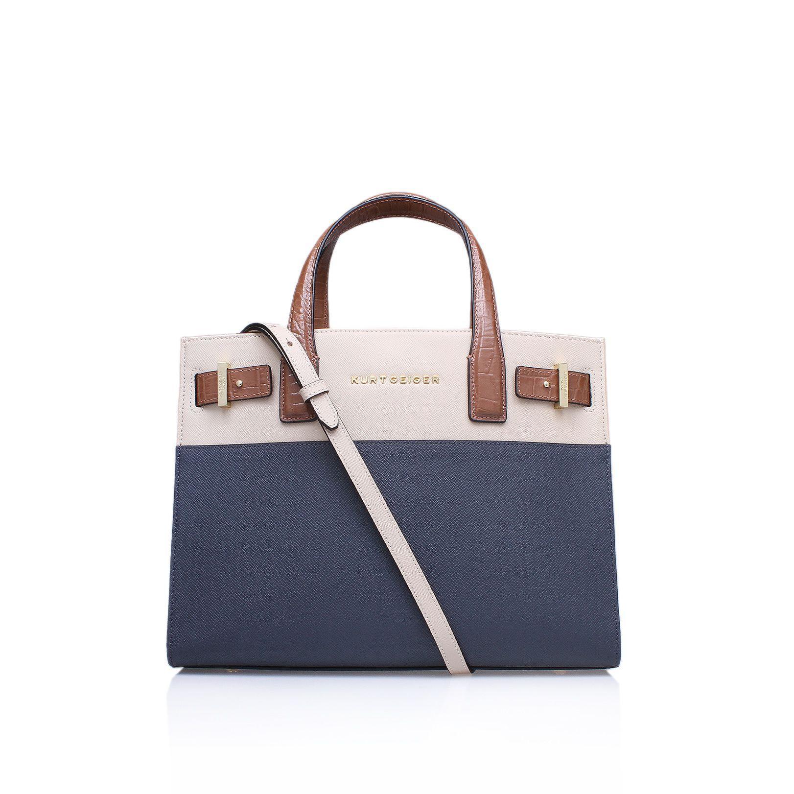 Kurt geiger new saffiano london tote handbag in blue lyst for Housse of fraser