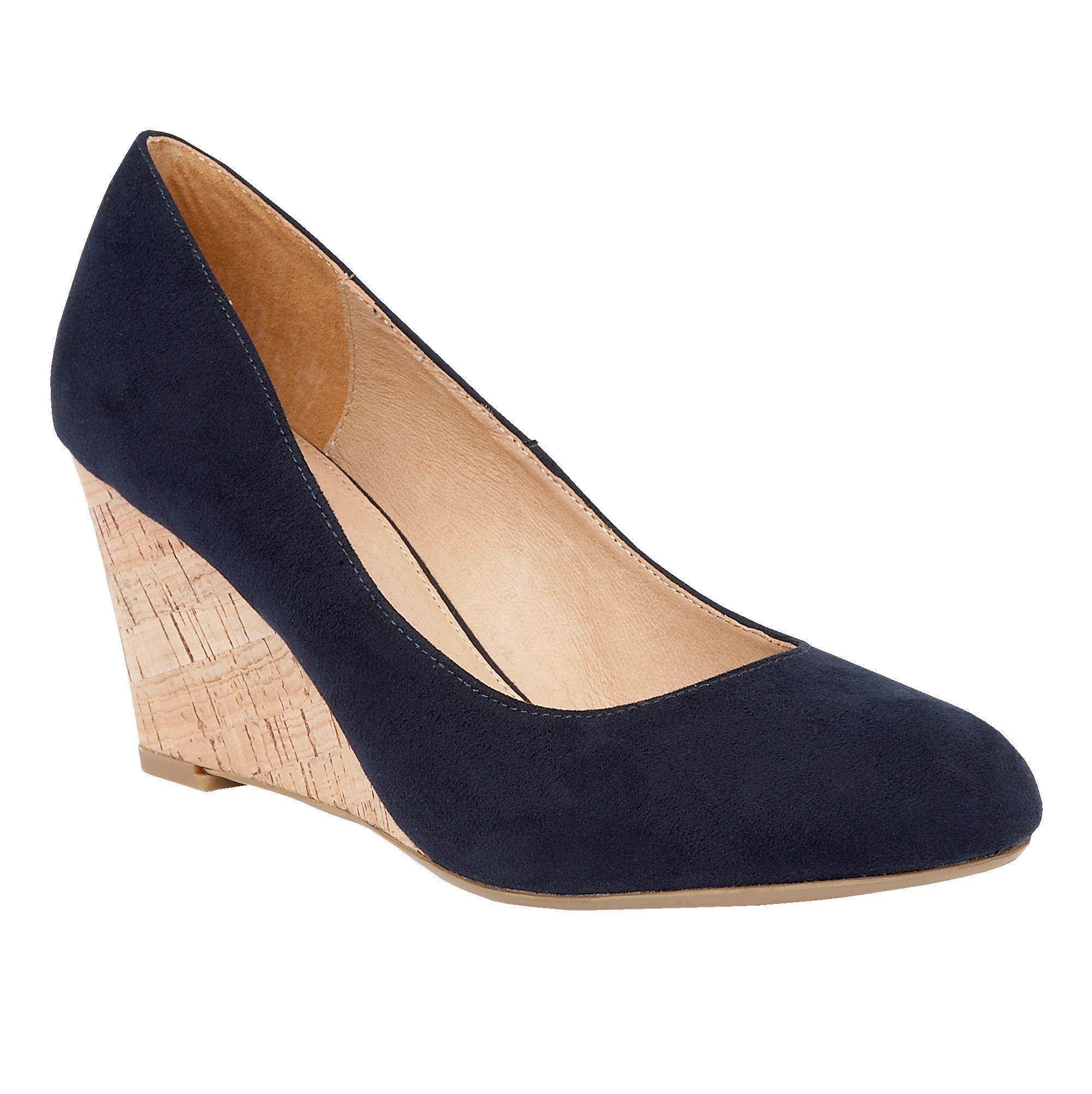 Ladies Blue Wedge Lotus Shoes