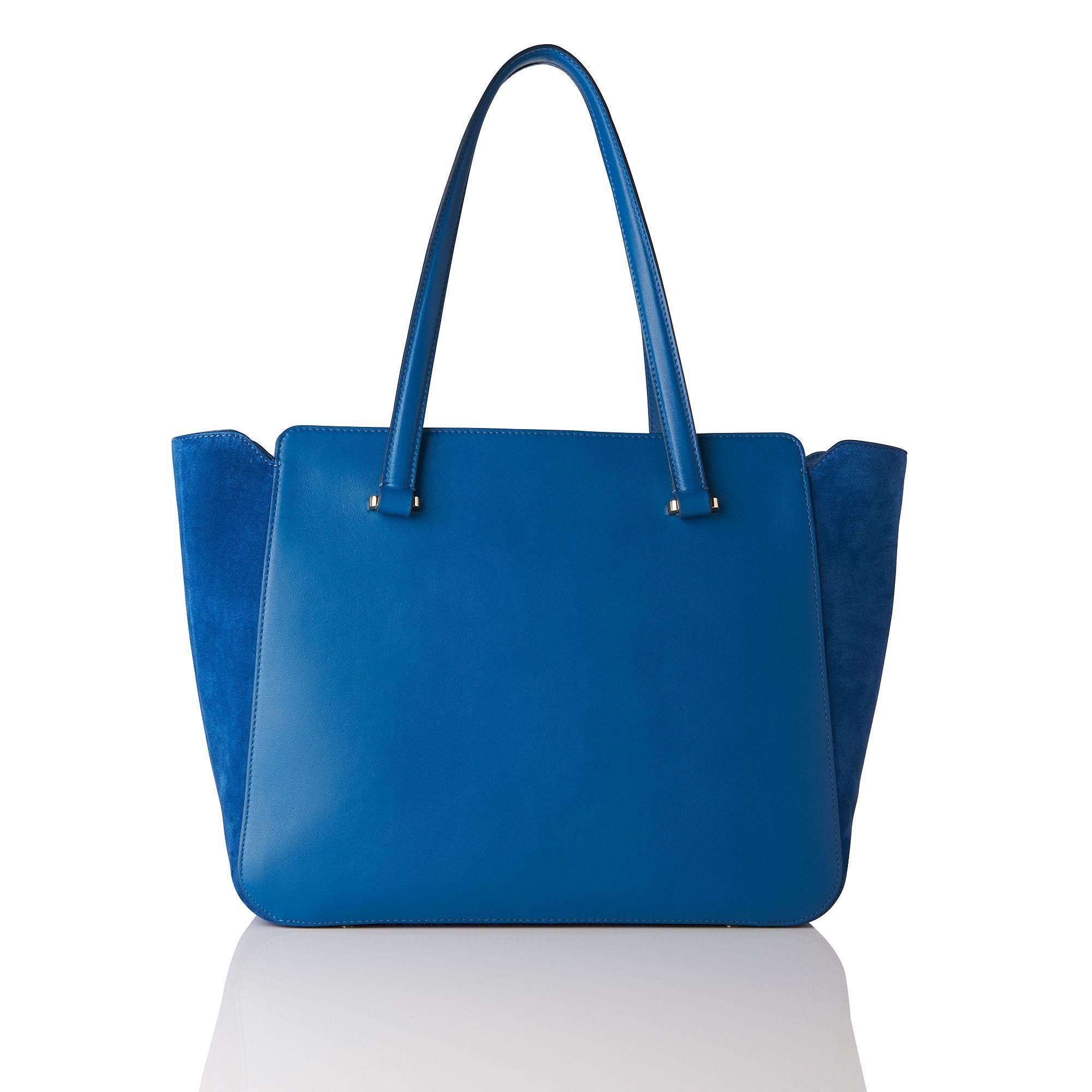L.K.Bennett Leather Natasha Blue Suede Tote Bag