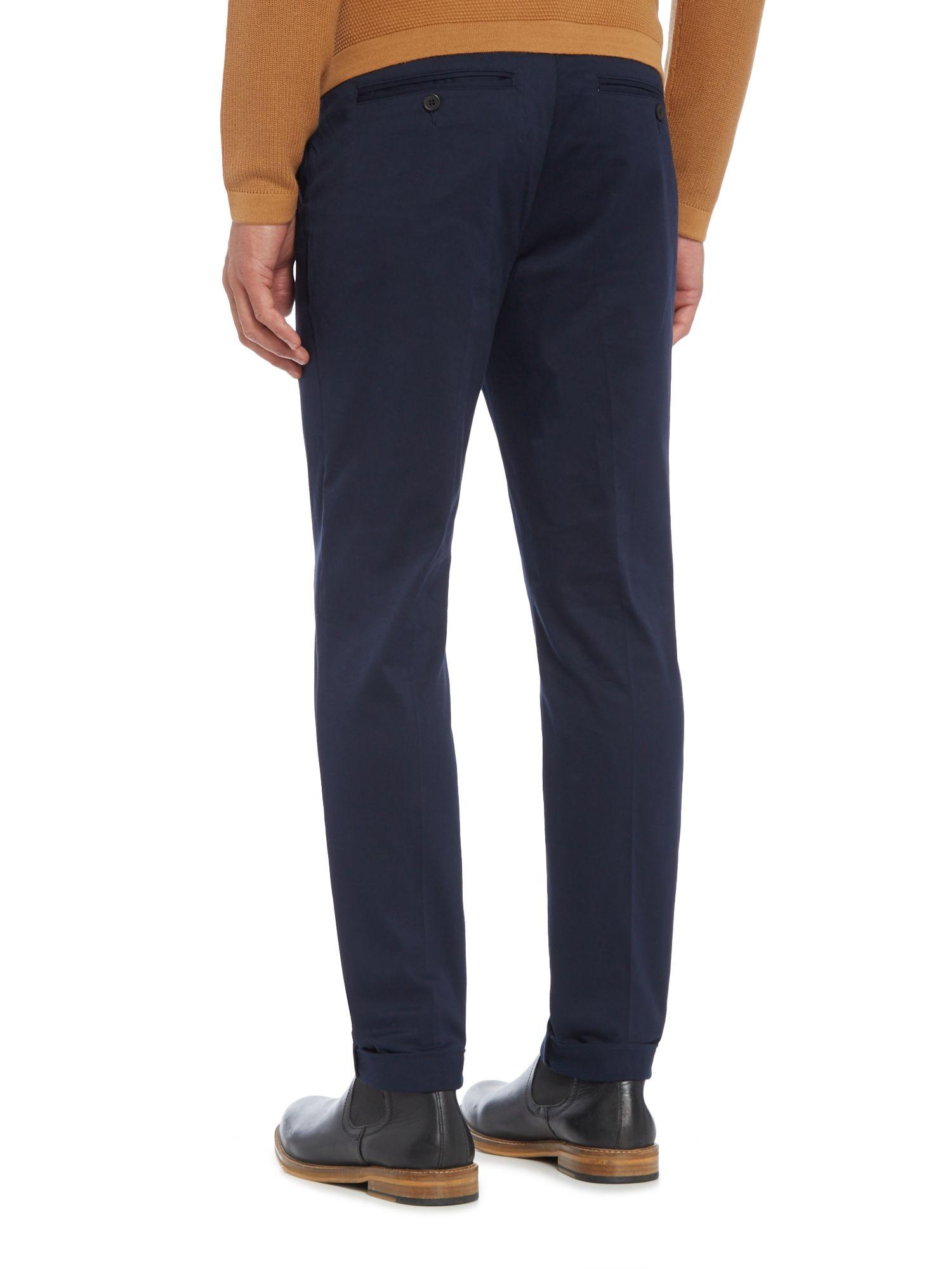 Minimum Cotton Slim Fit Formal Trousers in Navy (Blue) for Men