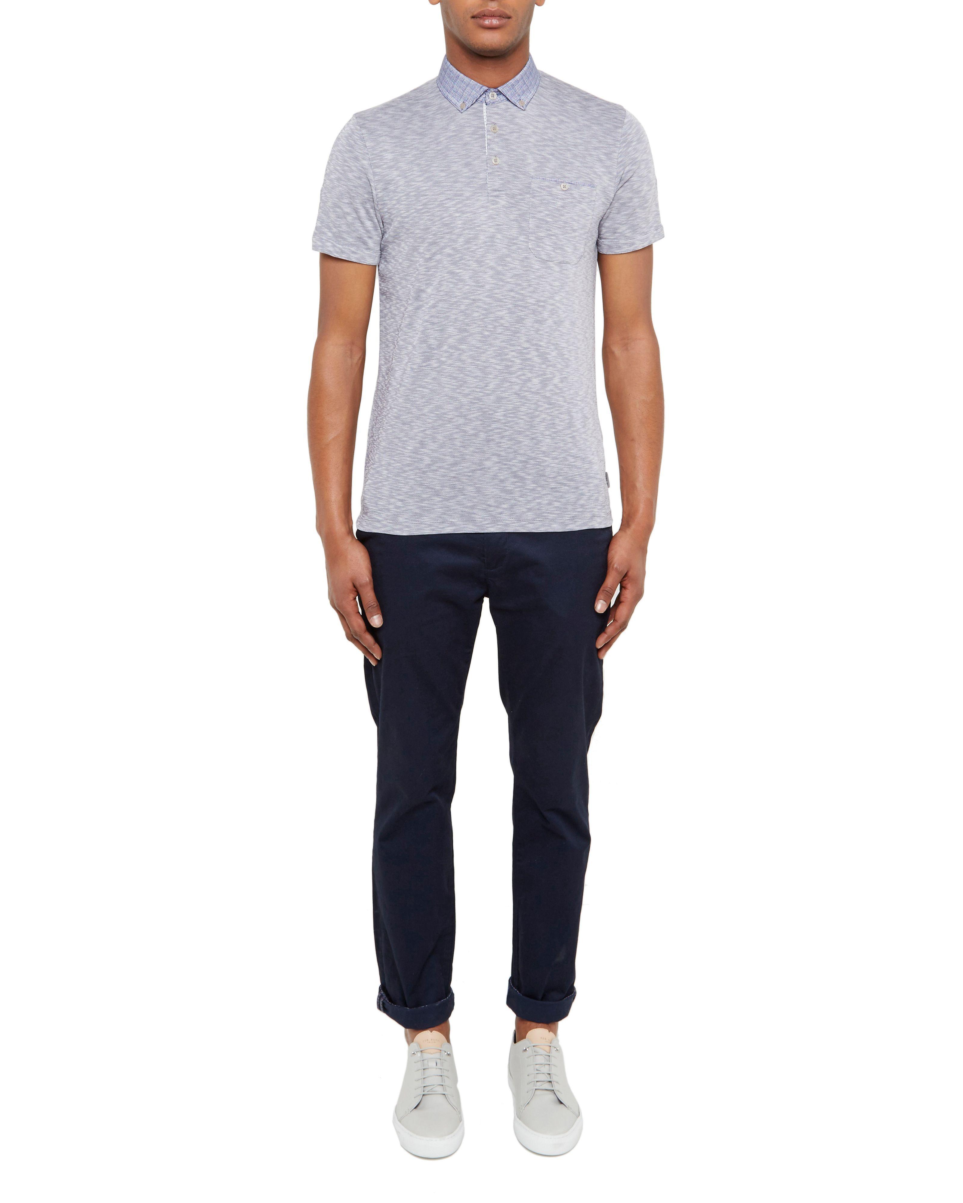 Ted Baker Synthetic Sogar Woven Collar Polo Shirt in Blue for Men