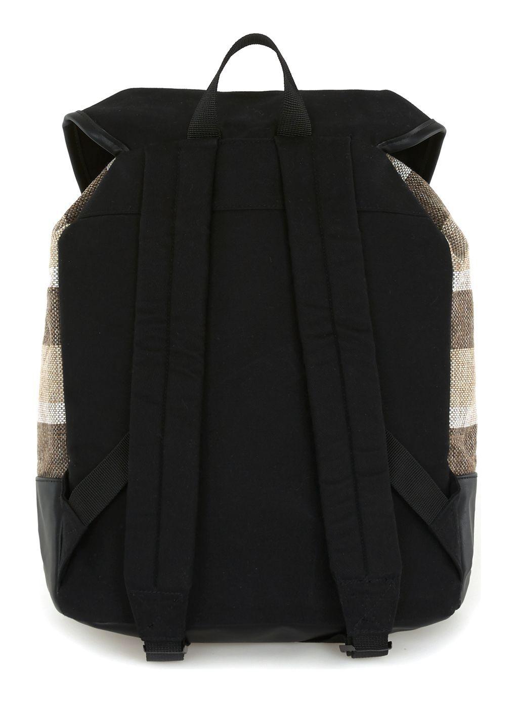 TOPMAN Stripe Canvas Backpack in Black for Men