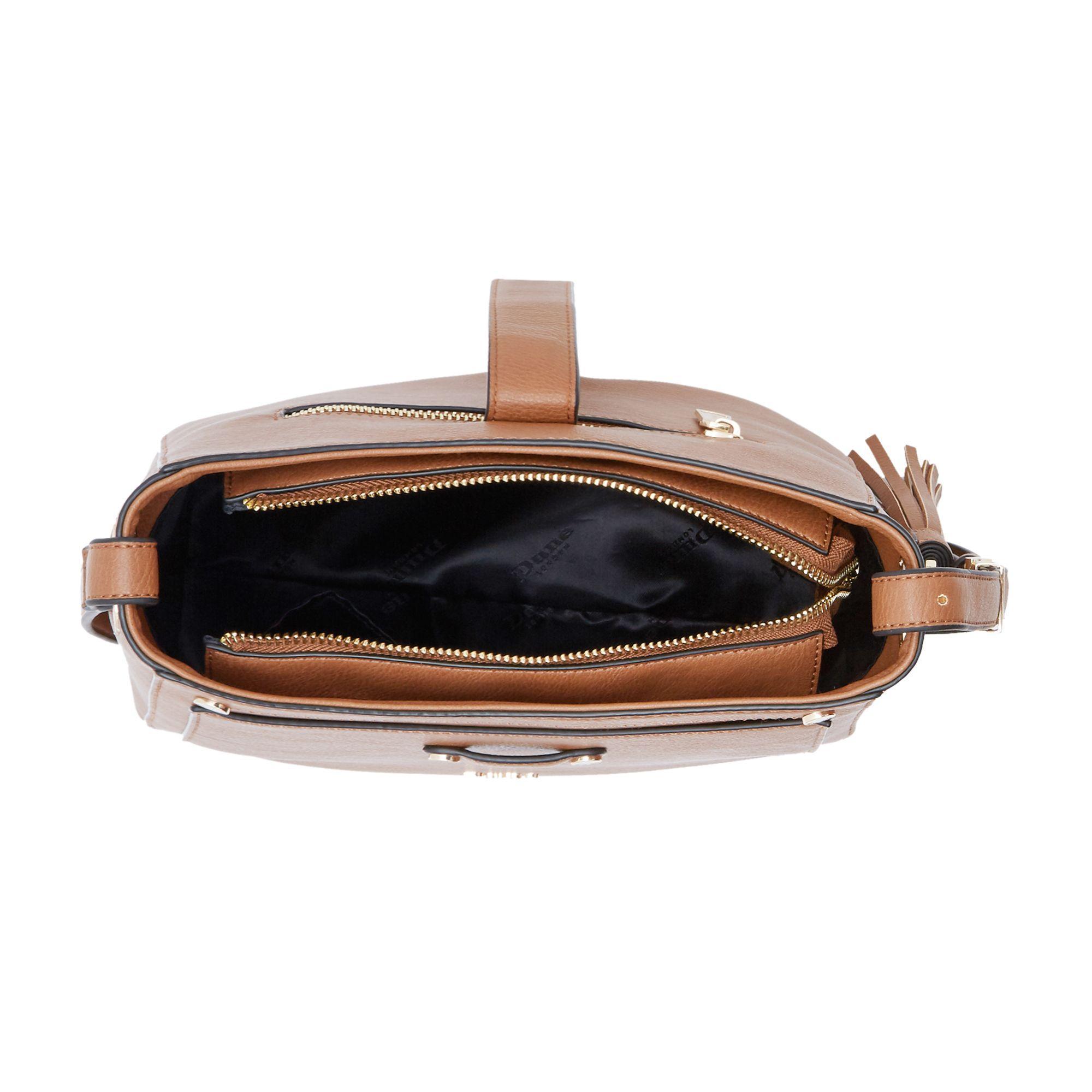 Dune Danao Medium Strap Detail Crossbody Bag in Tan (Brown)