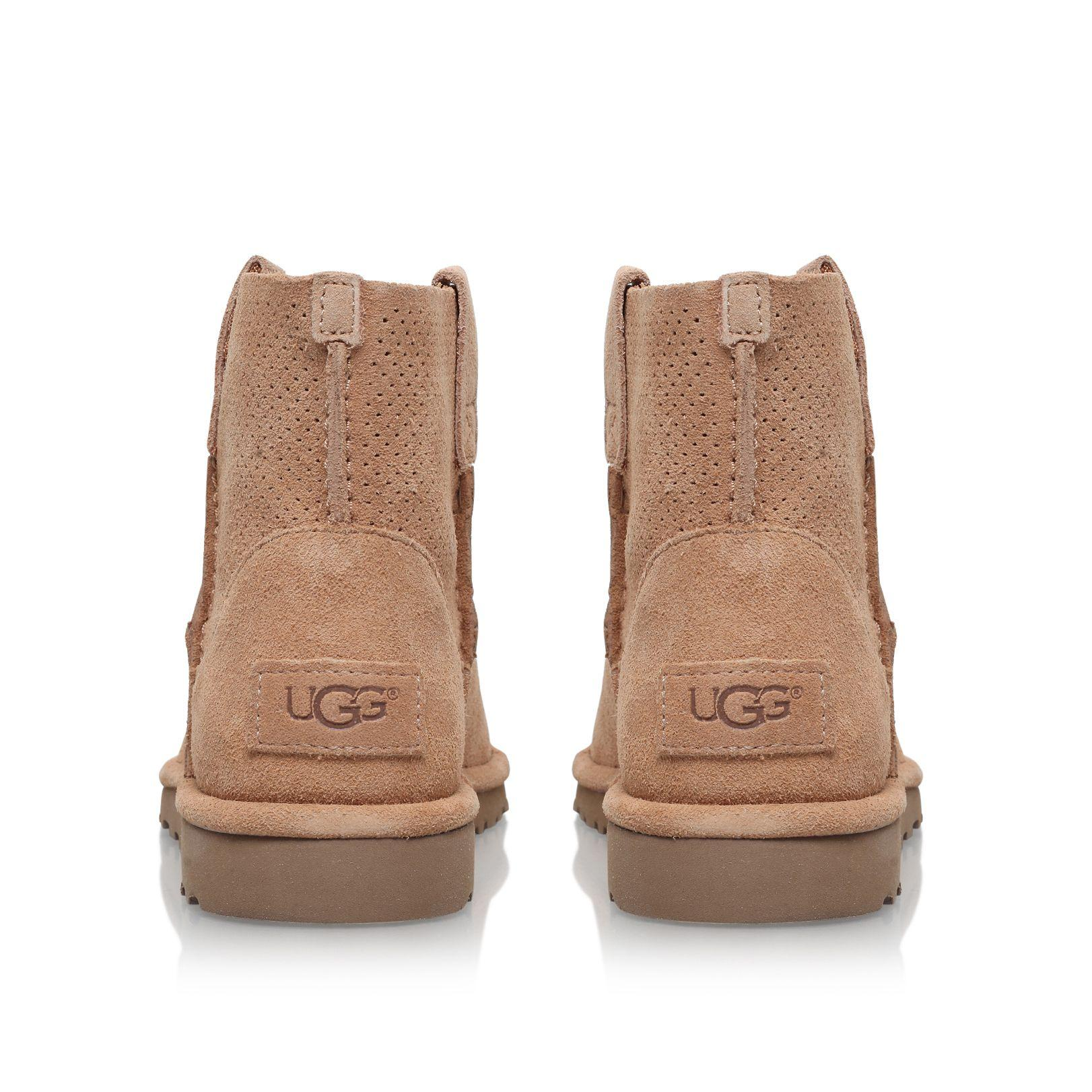 UGG Suede Classic Unlined Mini Perf Ankle Boots in Beige (Natural)