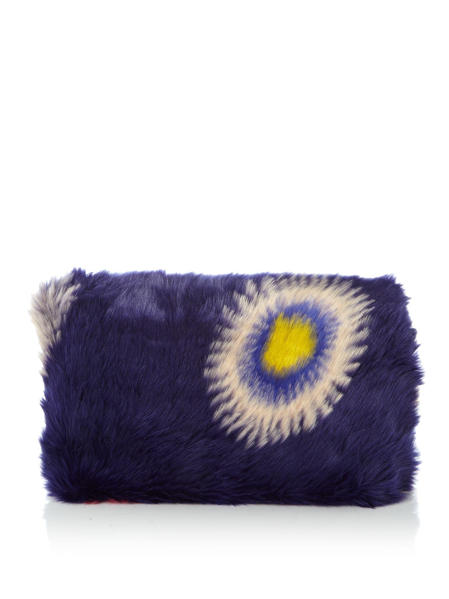 Paul Smith Pow Faux Fur Crossbody Clutch Bag in Navy (Blue)