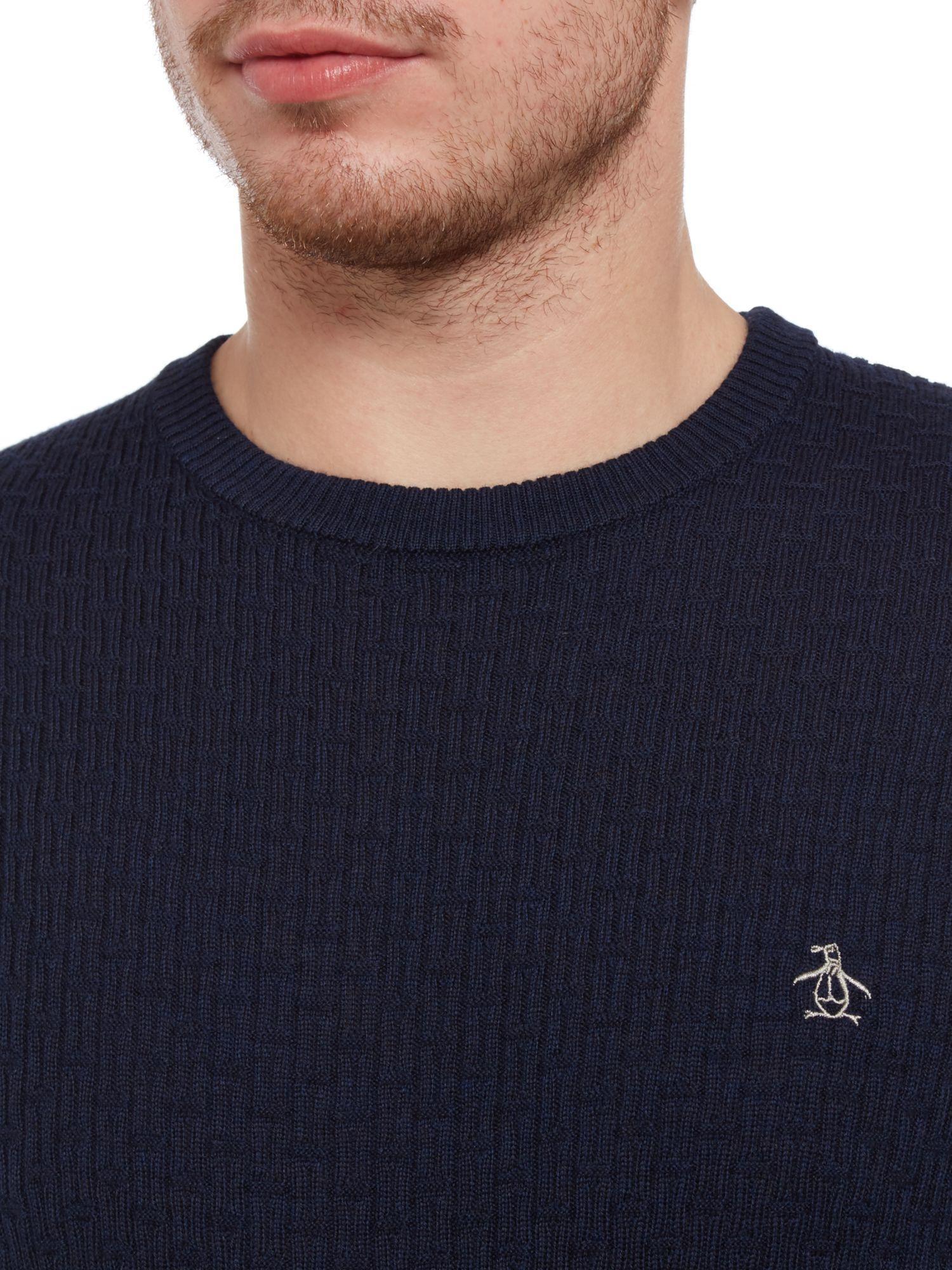 Original Penguin Wool Merino Basketweave Crew Neck Jumper in Navy (Blue) for Men