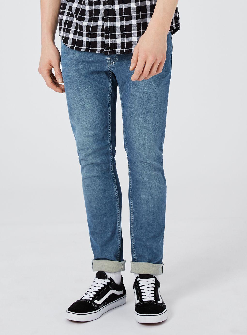 TOPMAN Denim Washed Blue Stretch Skinny Jeans for Men