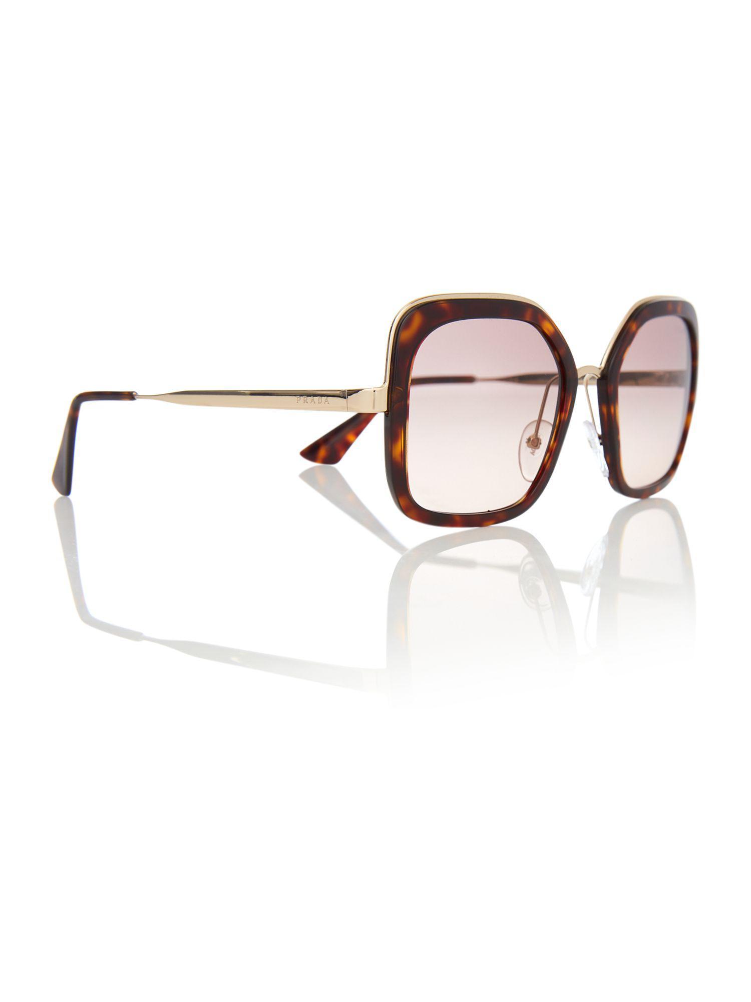 134118b3fd40 Lyst - Prada Brown Pr 57us Square Sunglasses in Brown