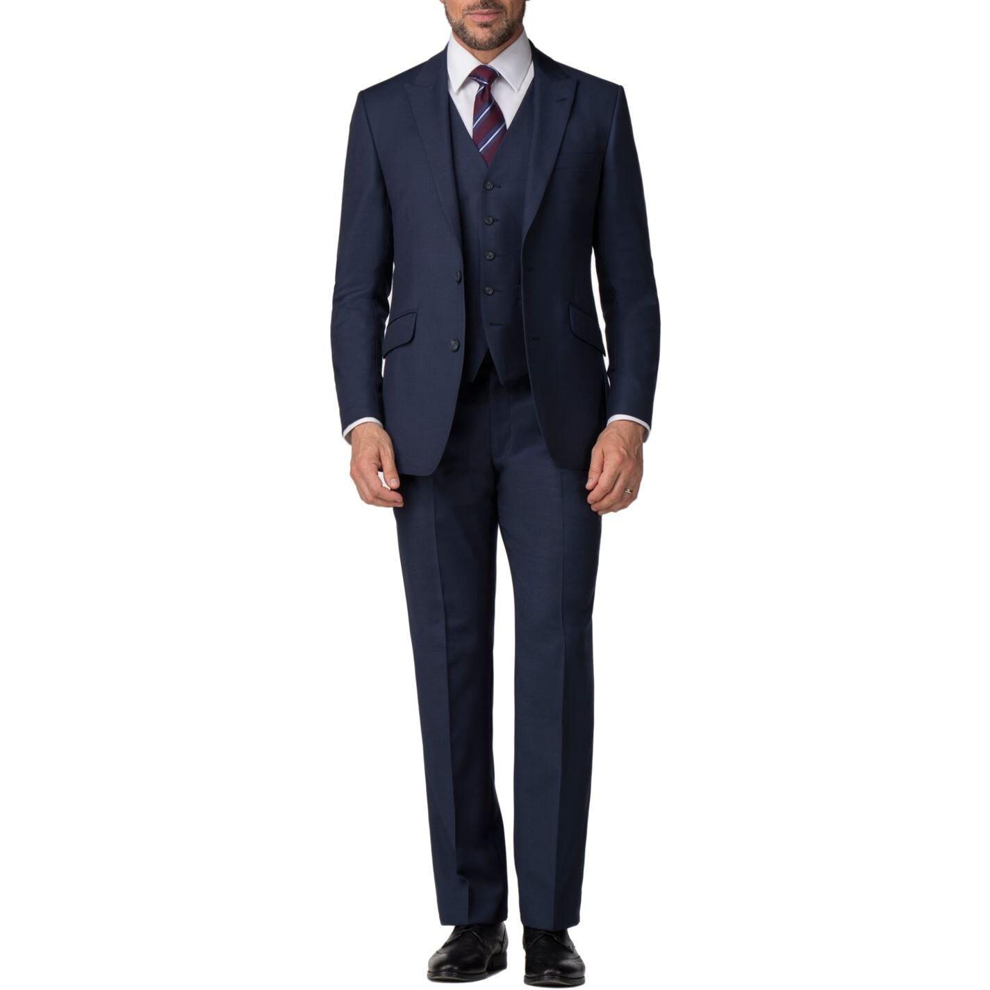 Pierre Cardin Wool Edmund Blue Textured Trouser for Men