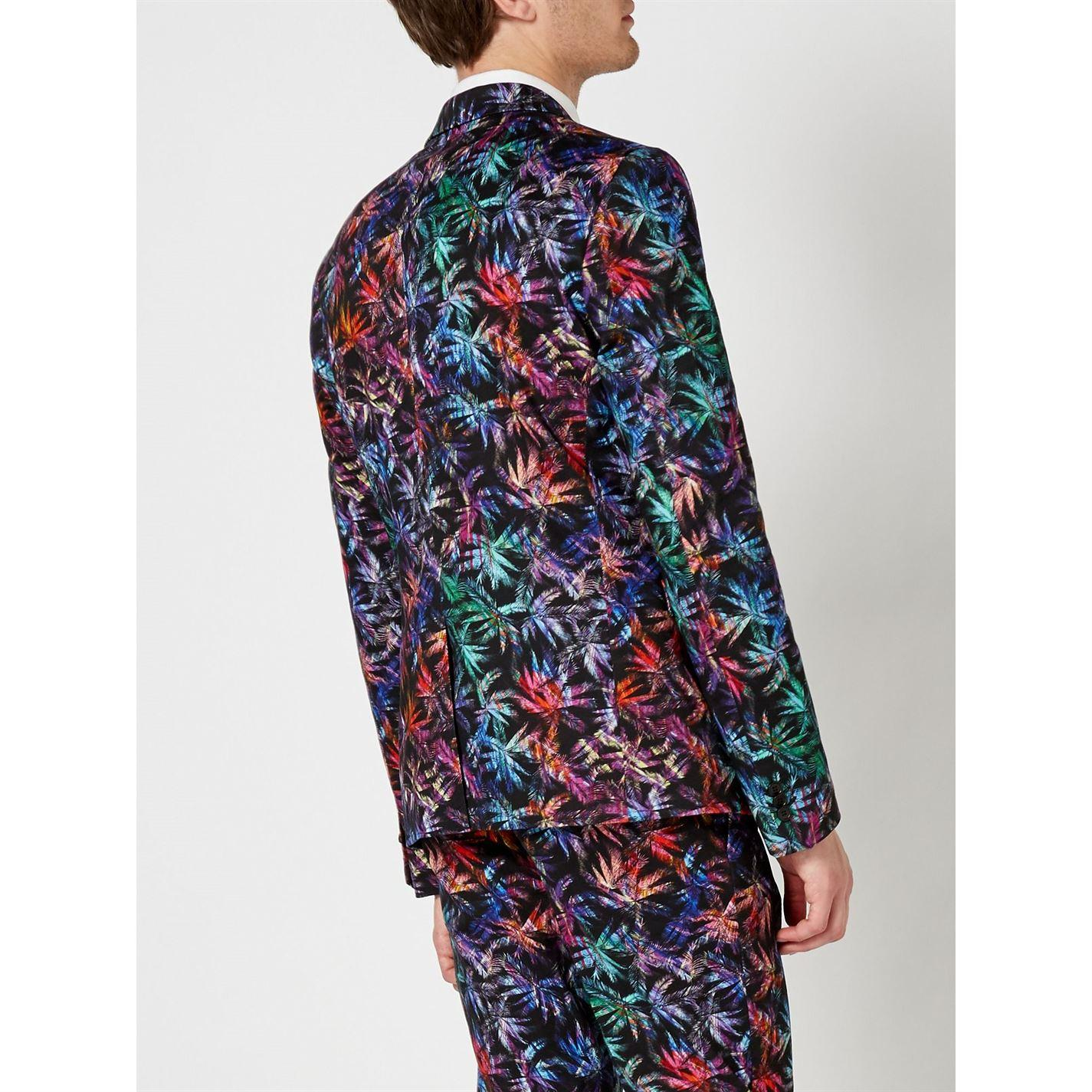 Label Lab Cotton Leonardo Palm Printed Skinny Fit Suit Jacket in Black for Men
