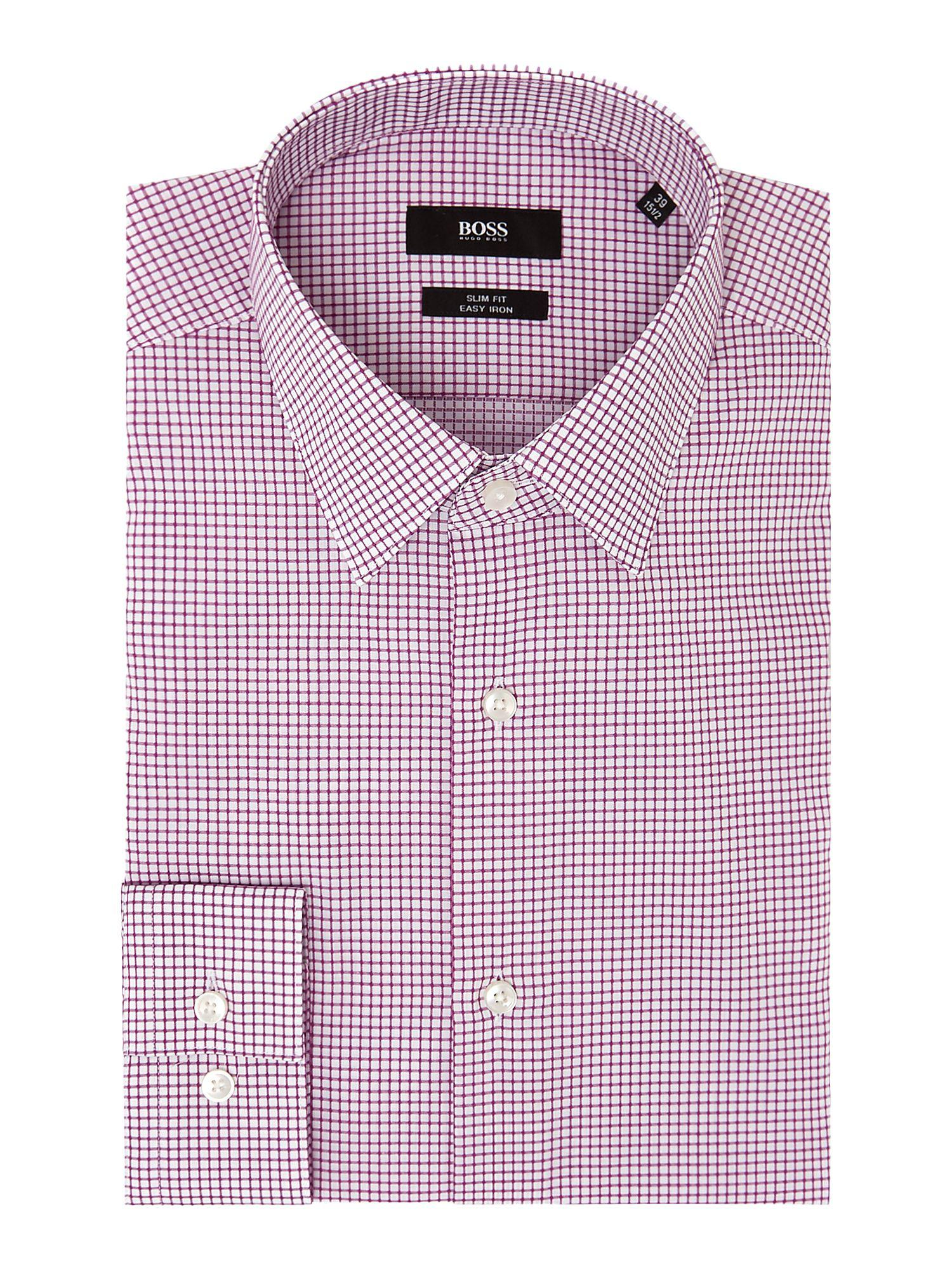 a26ba0db Boss Men's Isko Slim Micro Grid Check Shirt in Red for Men - Lyst