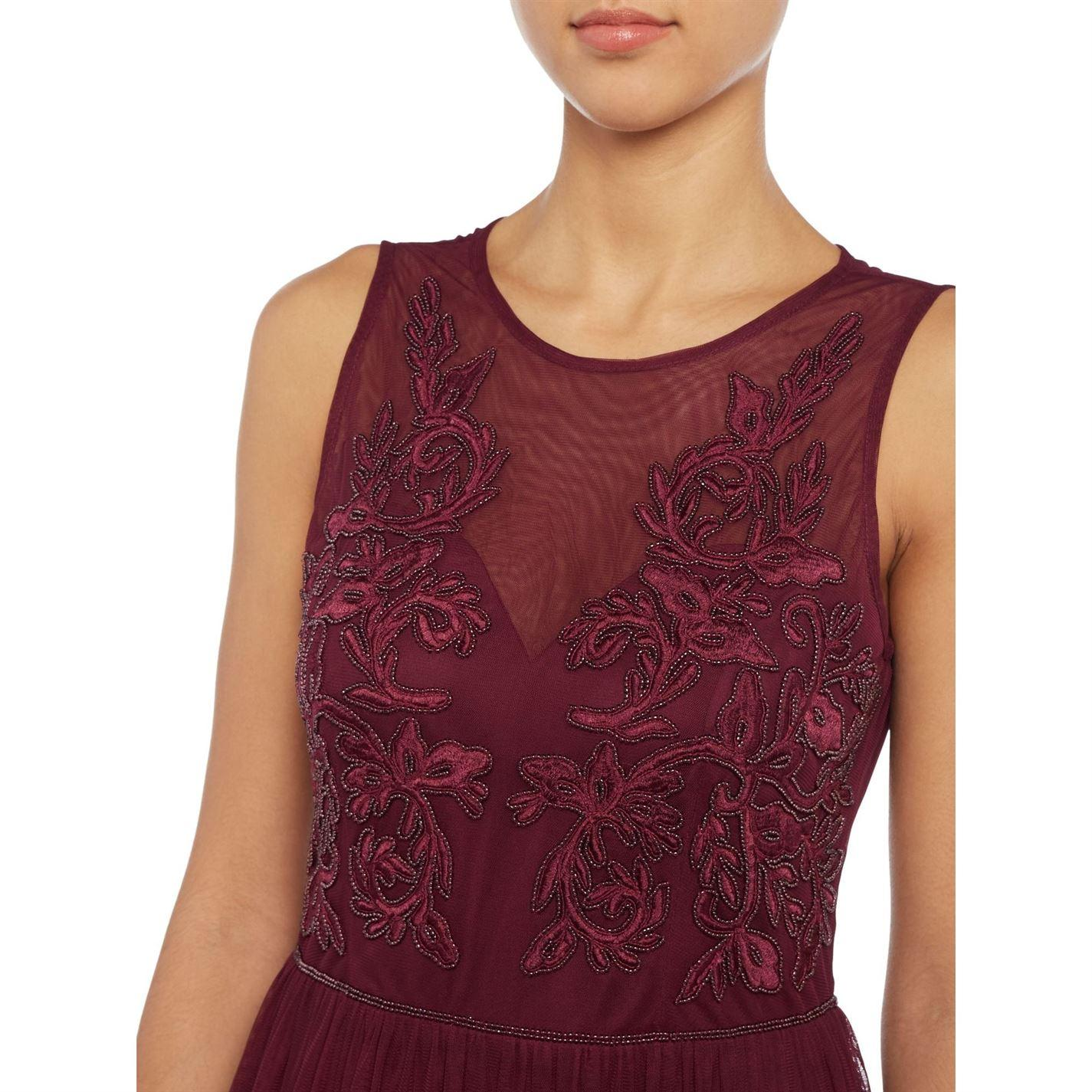 Adrianna Papell Sleeveless Lace Mesh Top Gown Maxi Dress in Red