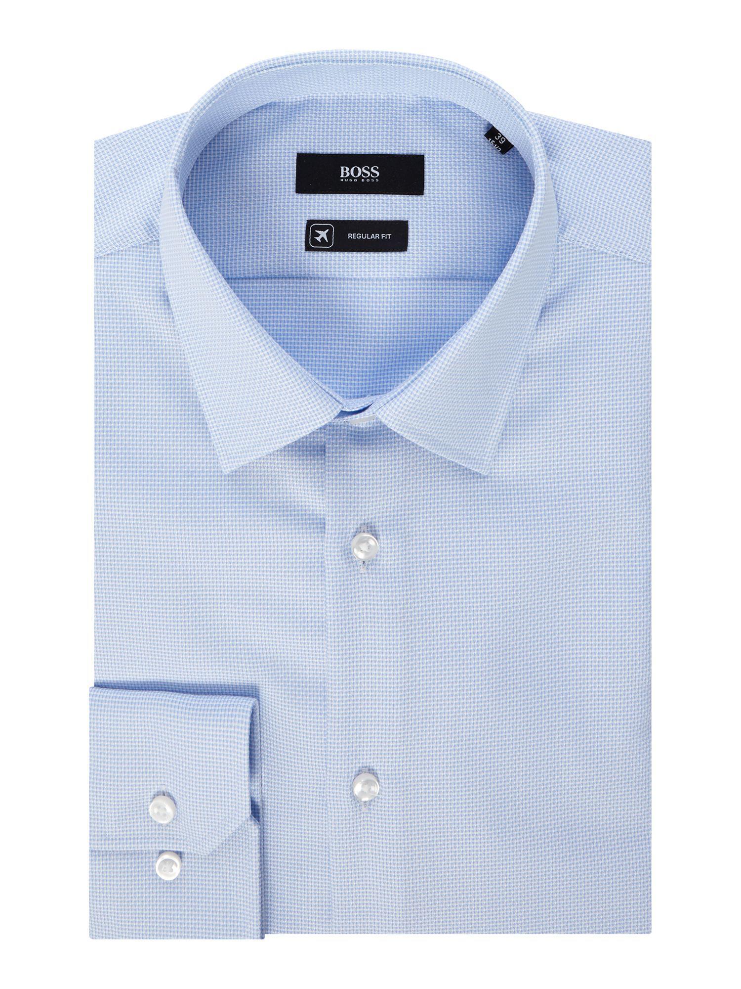 c151320a1 Boss Men's Enzo Regular Fit Micro Texture Geo Print Shirt in Blue ...