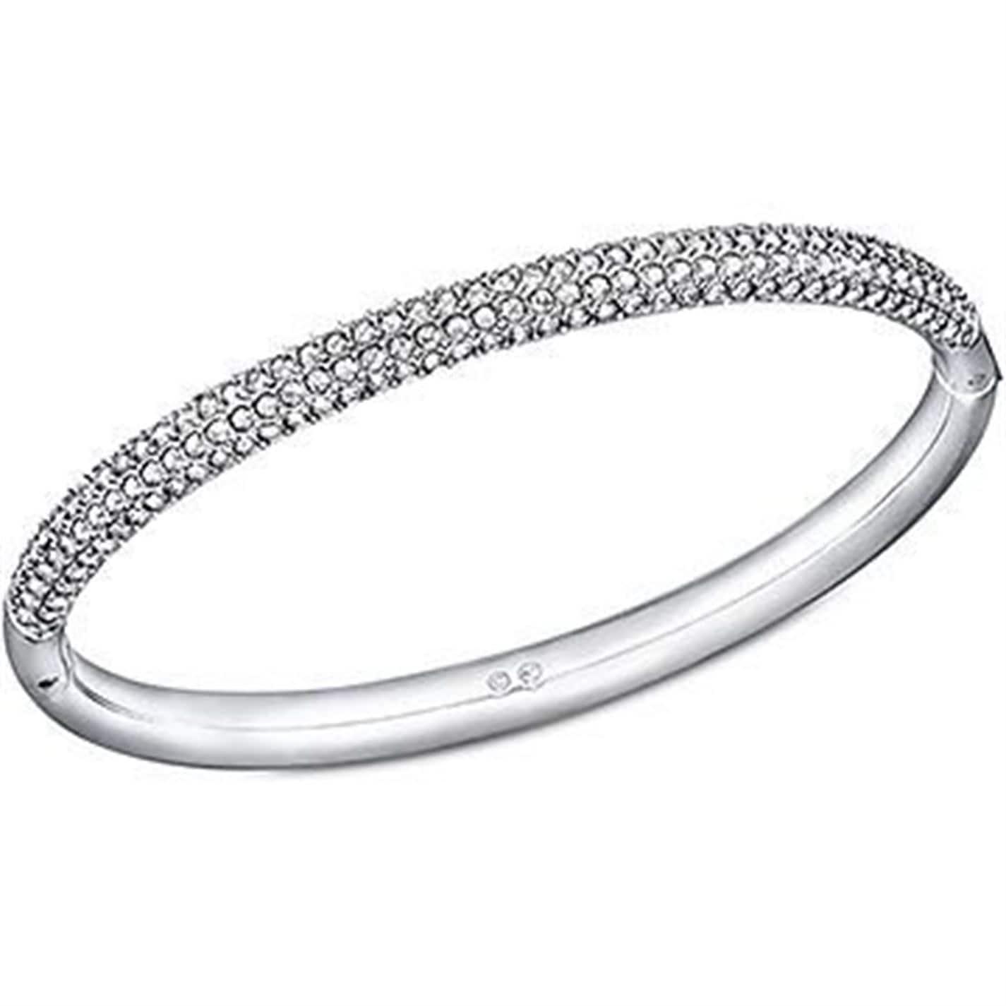 Swarovski Stone Mini Crystal Bangle in Silver (Metallic)