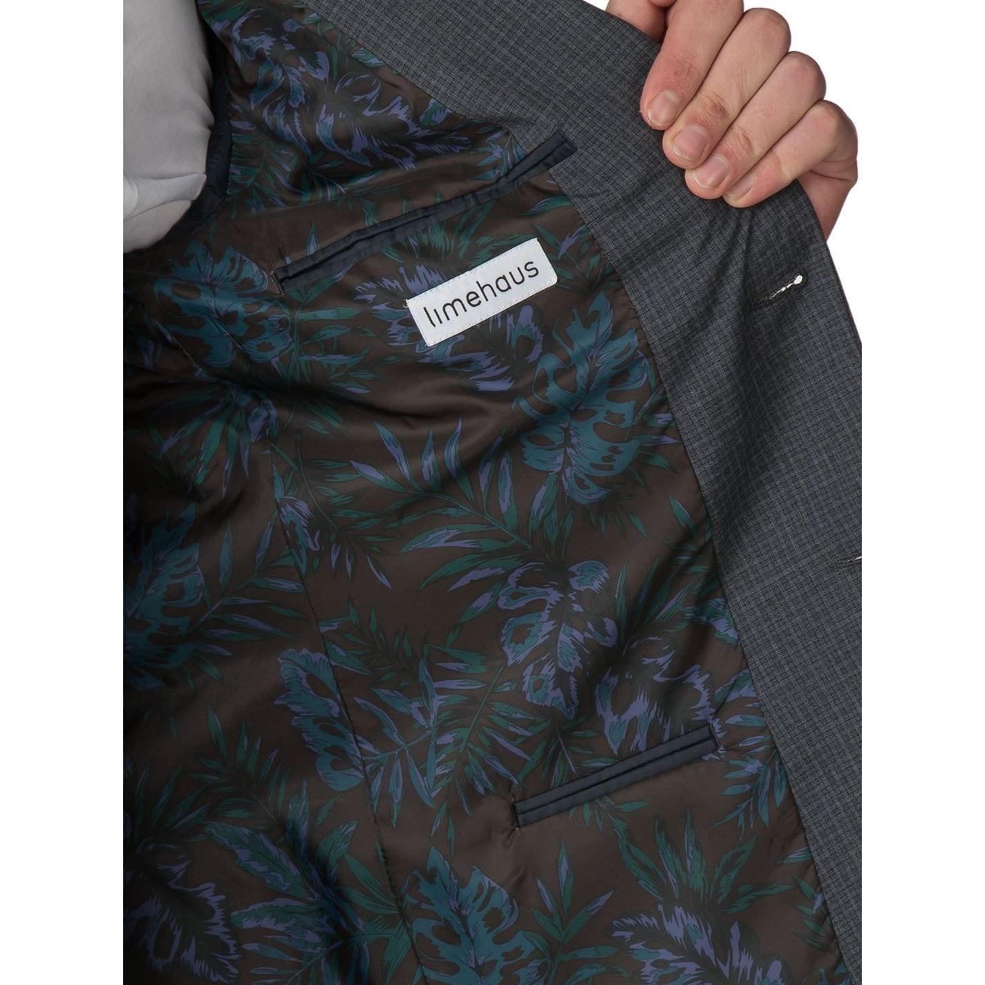 Limehaus Alistair Grey Micro Check Skinny Jacket in Grey for Men