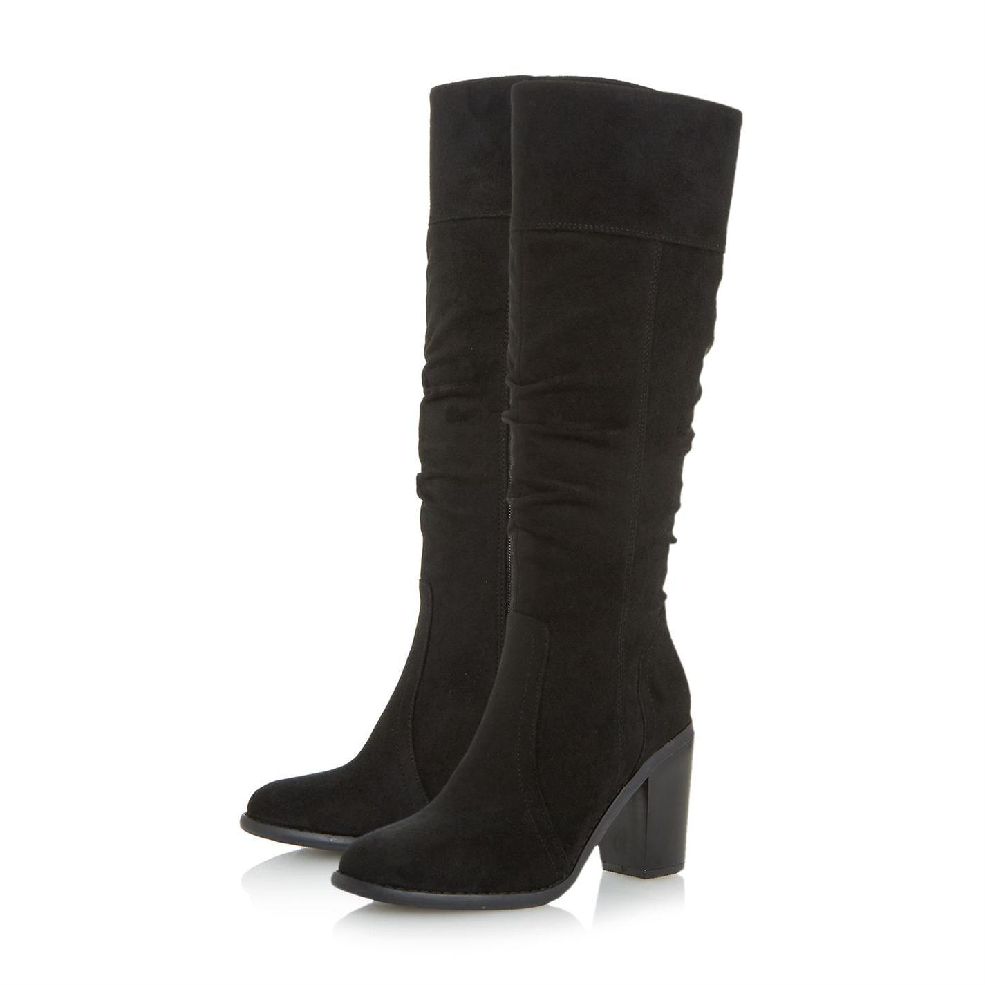 Dune Tamika Rouched Knee High Boots in Black