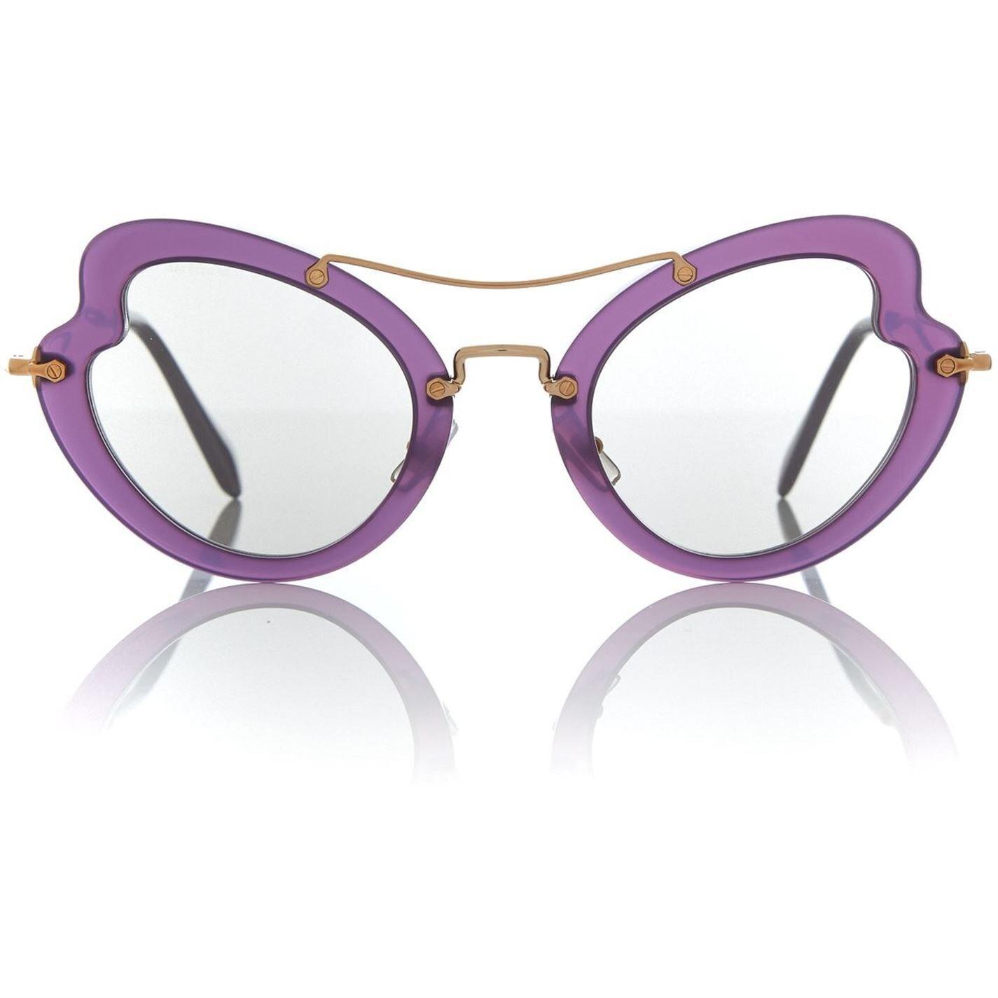 Miu Miu Violet Irregular 0mu 11rs Sunglasses in Purple