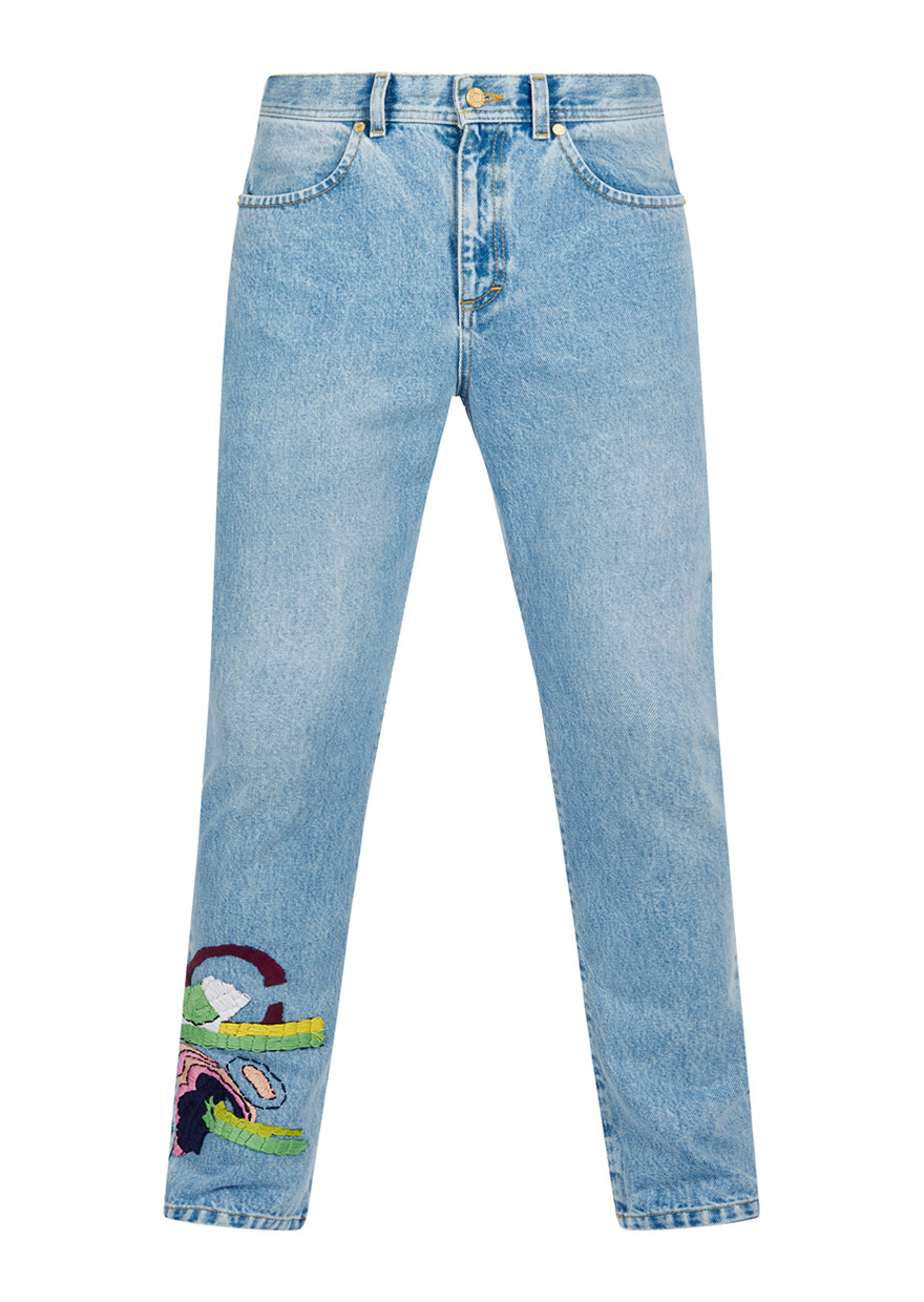 House of holland addison embroidered jeans in blue for men