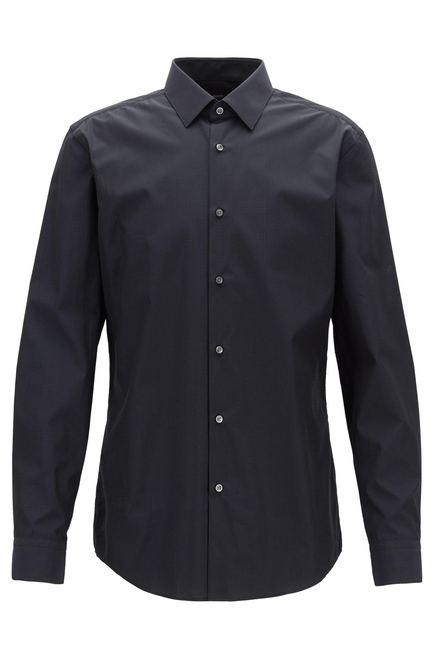 2fbe0756 Lyst - Boss Slim-fit Shirt In Dobby Egyptian Cotton in Black for Men