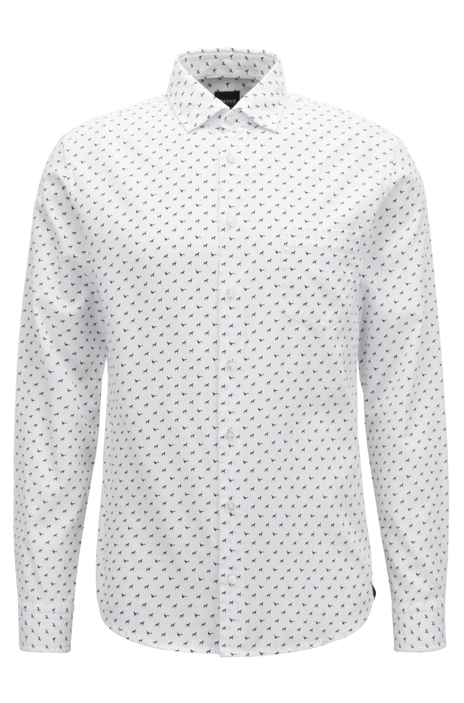 82458419b BOSS Slim-fit Printed Cotton Shirt in White for Men - Lyst