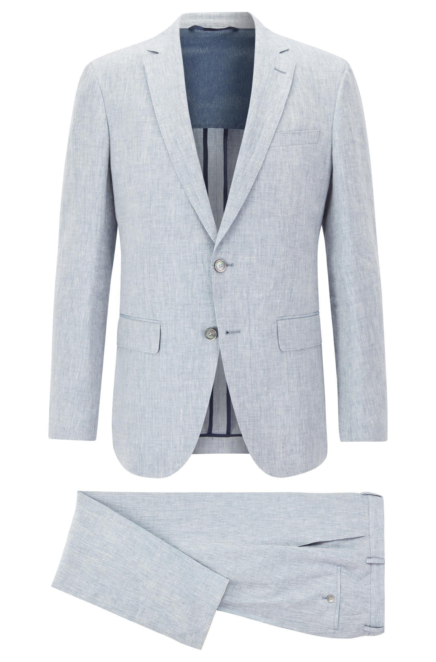 Boss Slim-fit Suit In Yarn-dyed Mélange Linen in Blue for Men - Lyst
