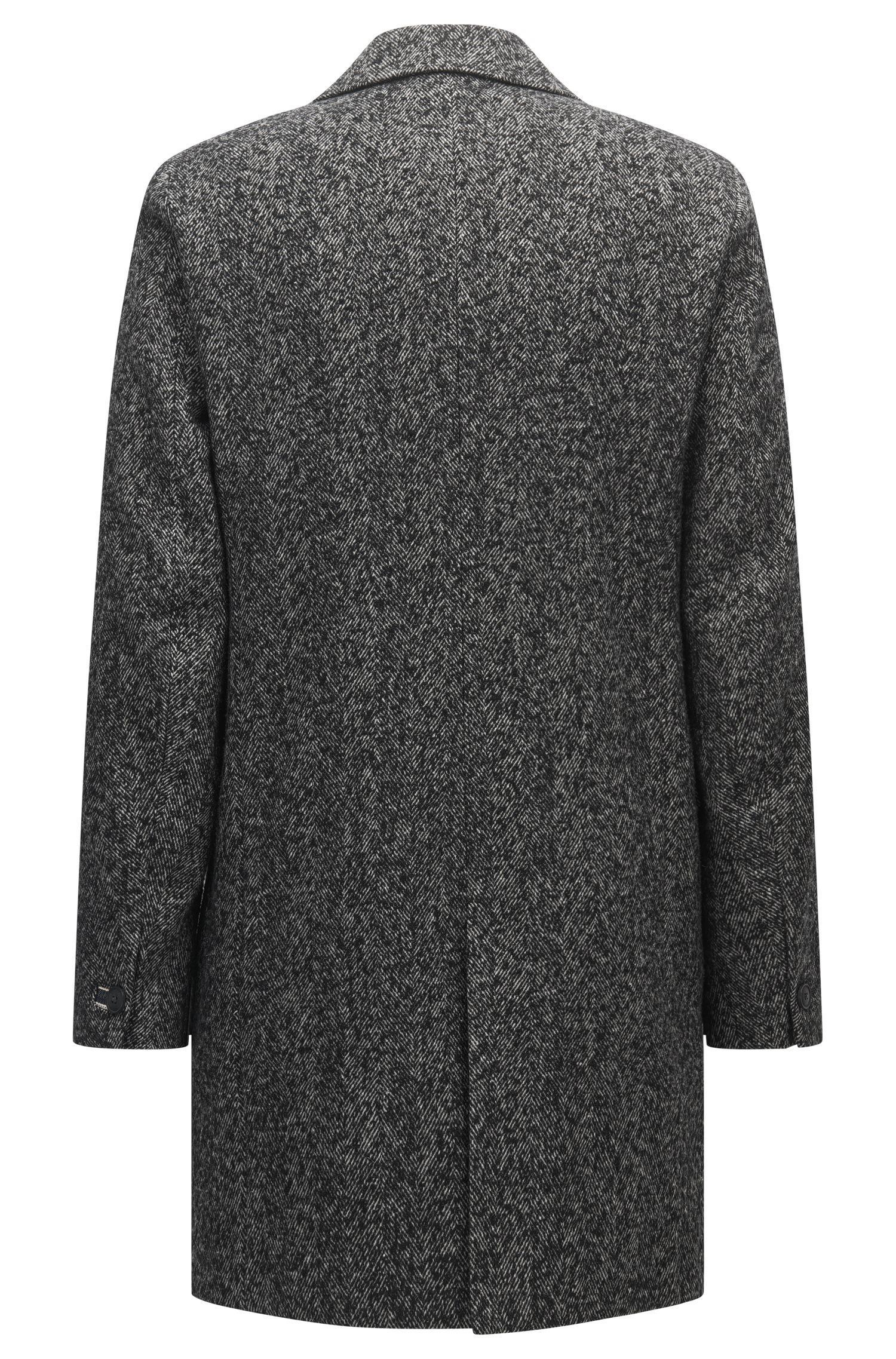 5d44b1f70129 BOSS Orange Herringbone Coat In A Slim Fit in Gray for Men - Lyst