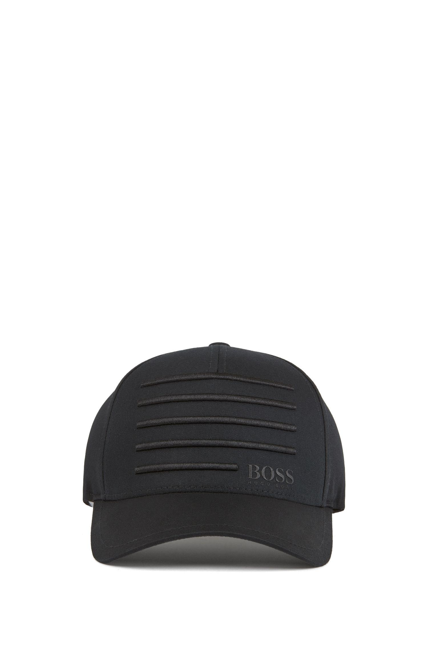 848ce81989a BOSS - Black Cap With 3d Embroidered Stripes for Men - Lyst. View fullscreen