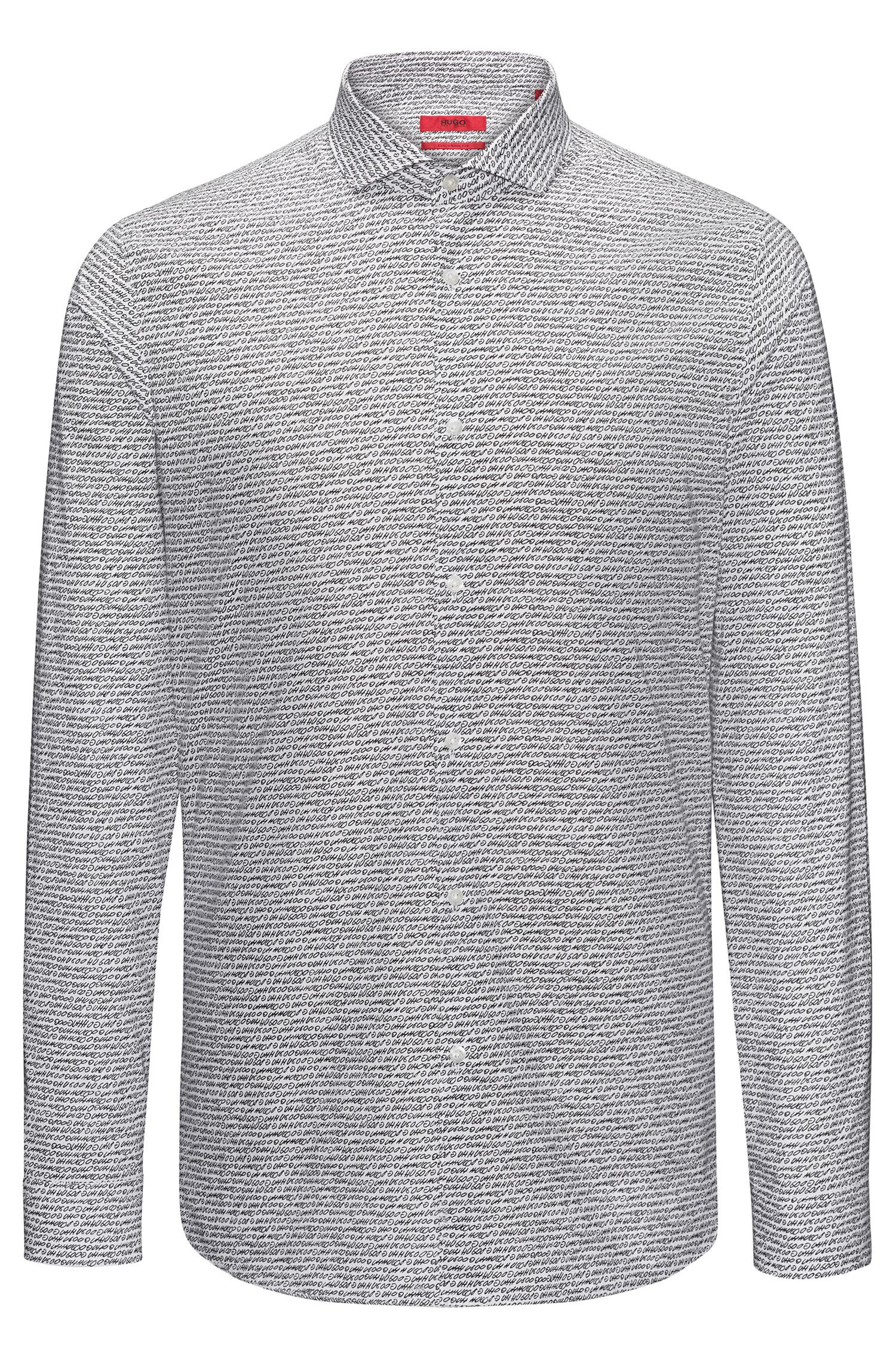 Hugo extra slim fit cotton shirt with handwritten pigment for Extra trim fit dress shirt