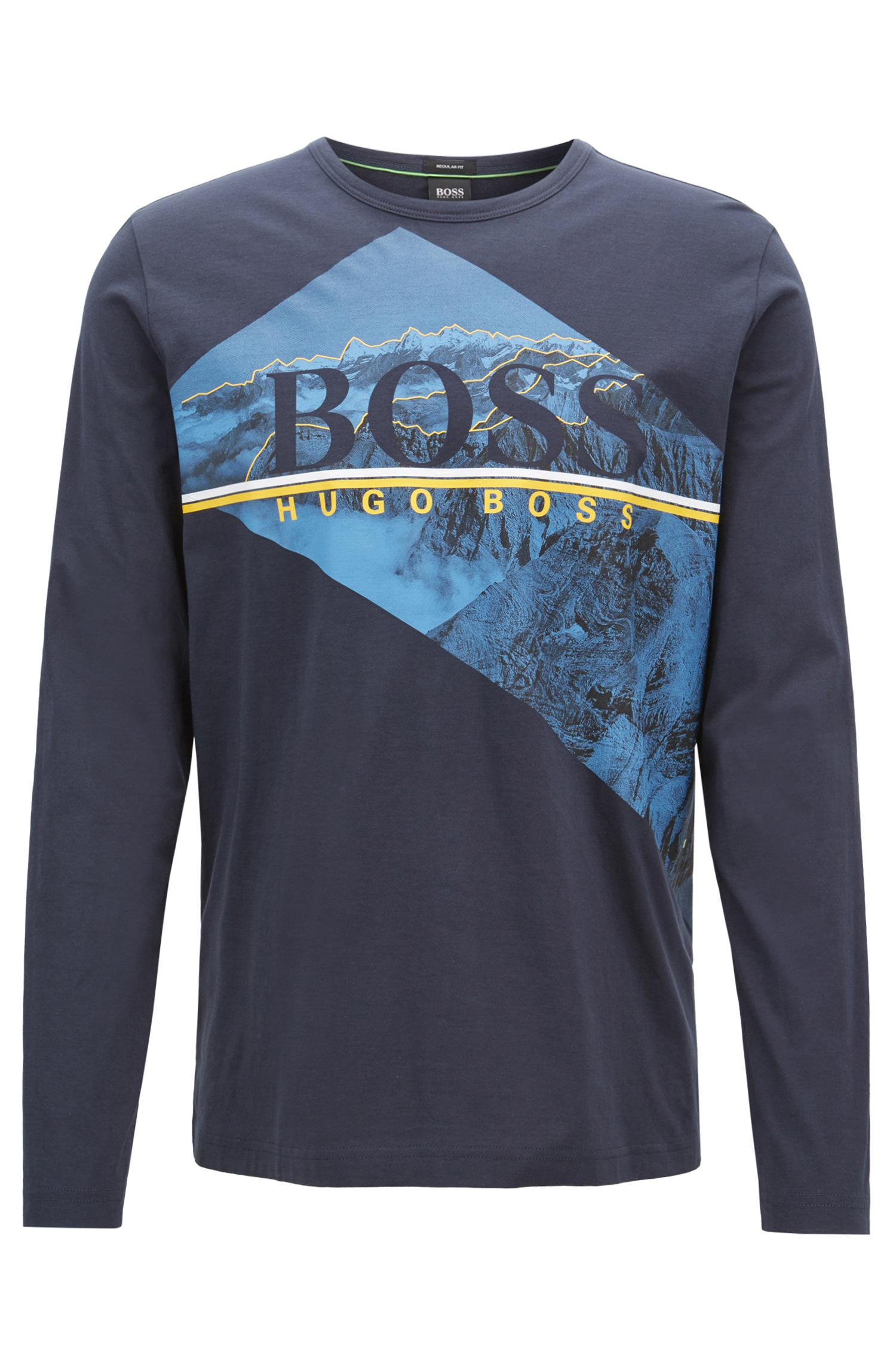 Long-sleeved T-shirt in cotton with photographic logo print BOSS Clearance Shopping Online FL7ApQicCW