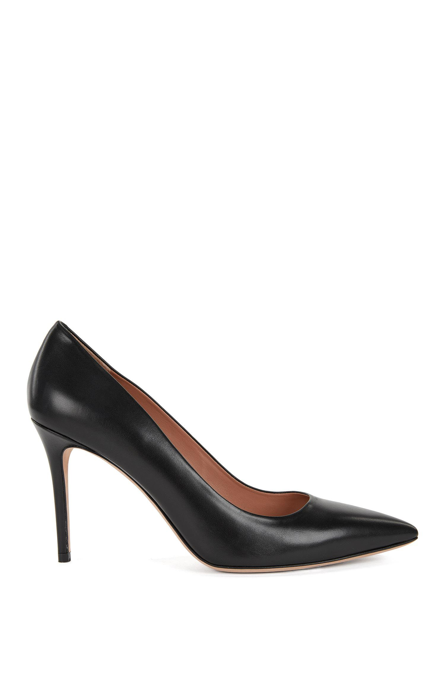 d67a3dc3cab BOSS Pointed-toe Court Shoes In Italian Leather in Black - Lyst