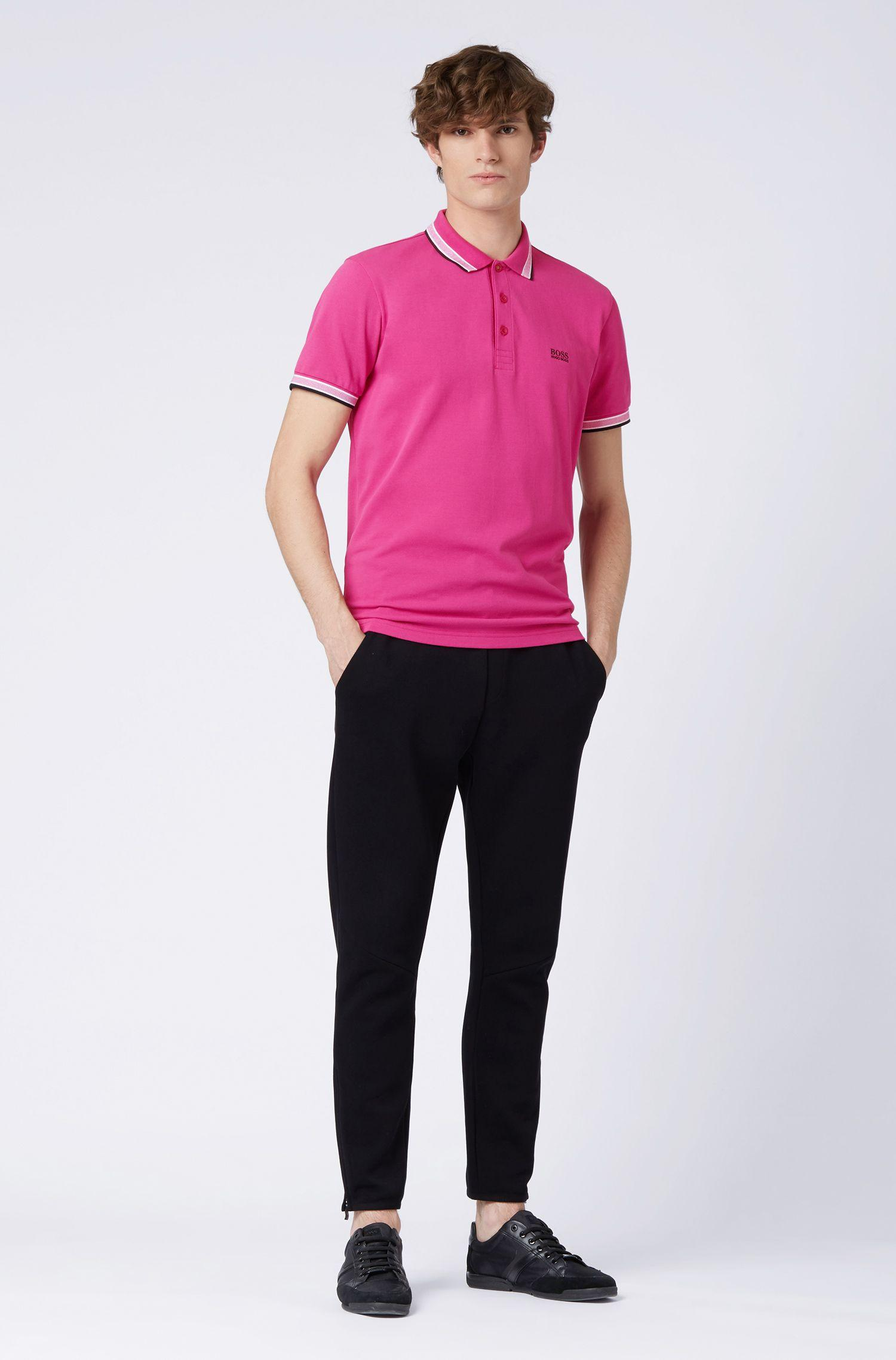 ccb913f6 BOSS - Pink Cotton-piqué Polo Shirt With Logo Undercollar for Men - Lyst.  View fullscreen