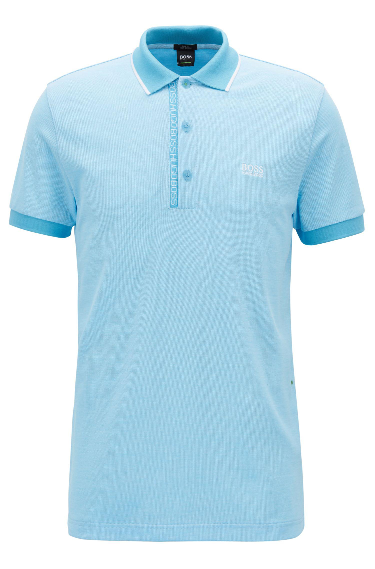 f4b6172f BOSS - Blue Slim-fit Polo Shirt In Pima-cotton Oxford Piqué for Men. View  fullscreen