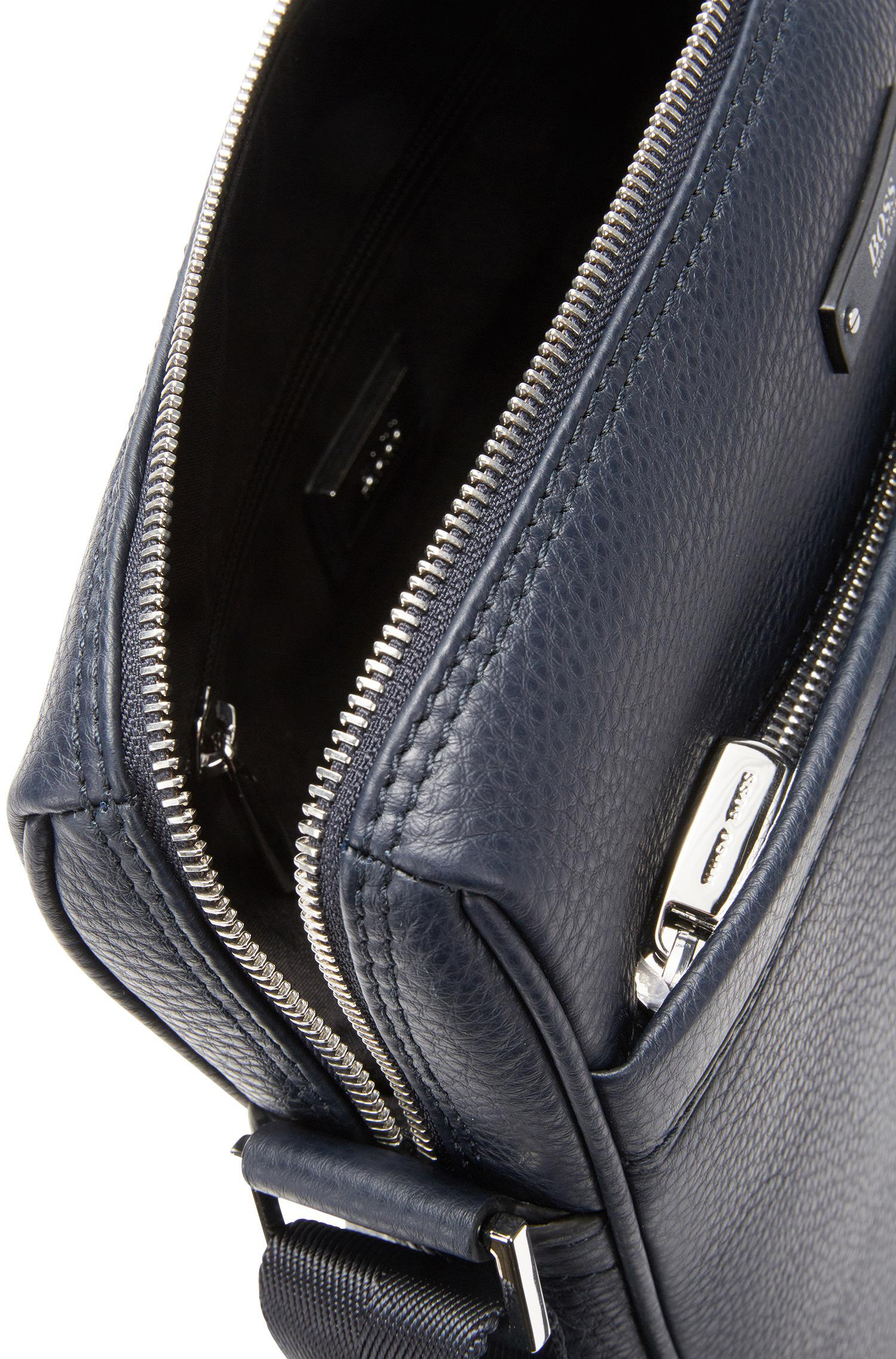 9365710675e0 BOSS Travel Line Reporter Bag In Grained Leather in Blue for Men - Lyst