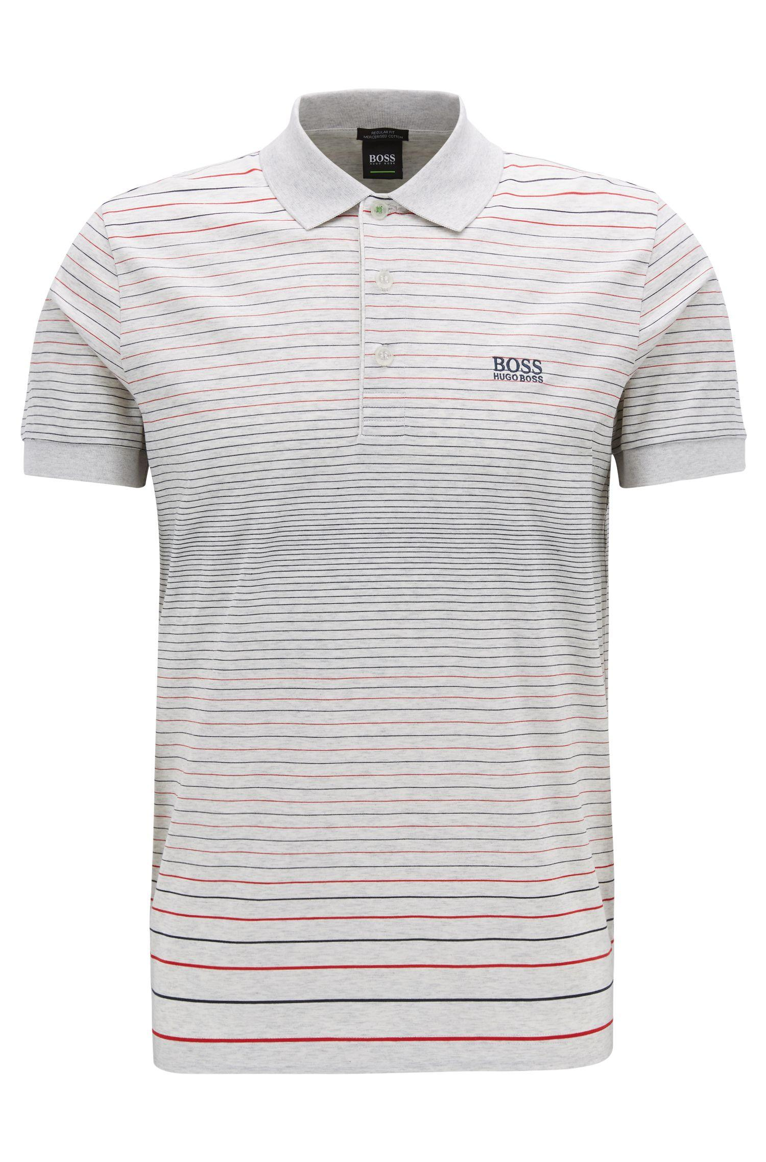 5f3568552 BOSS - Gray Regular-fit Polo Shirt In Mercerised Cotton for Men - Lyst.  View fullscreen