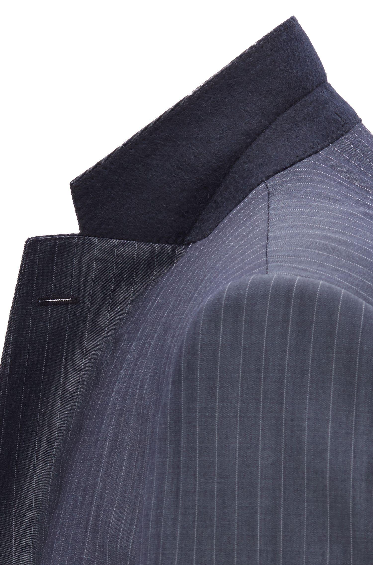 e38e0179d BOSS Regular-fit Suit In Striped Virgin Wool in Blue for Men - Save 30% -  Lyst