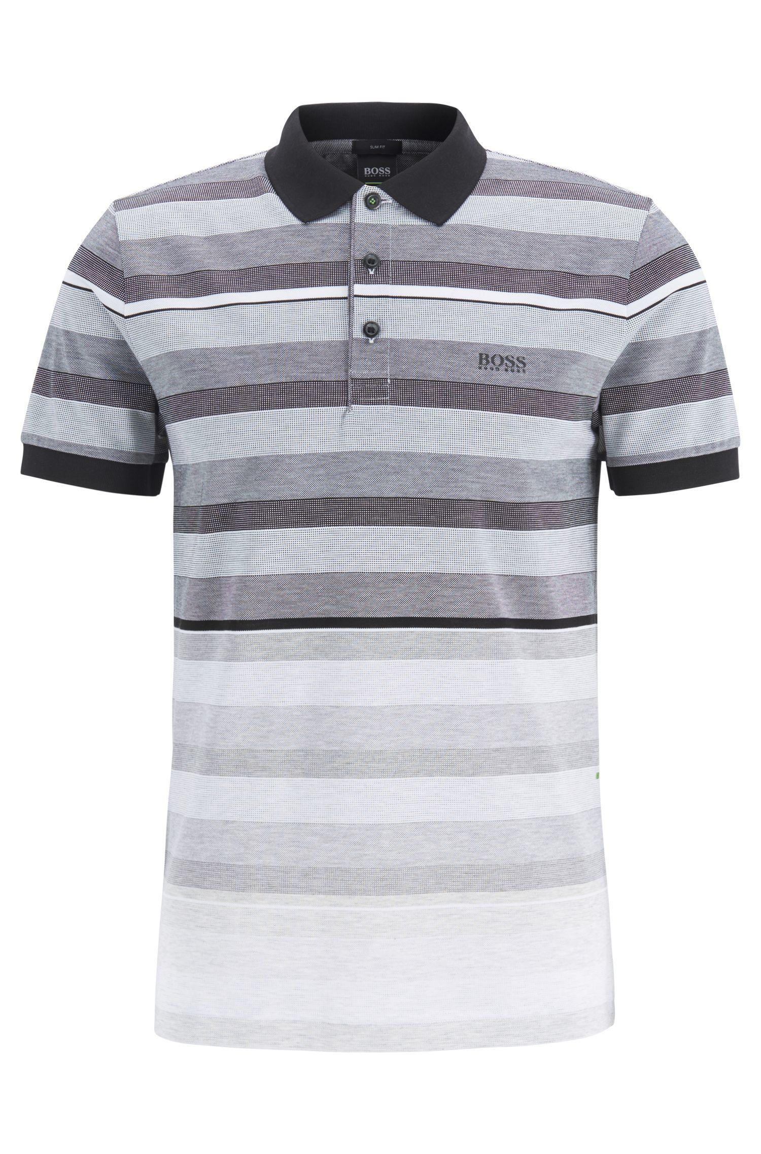 668f3a1c BOSS - Gray Slim-fit Polo Shirt In Striped Cotton Piqué for Men - Lyst.  View fullscreen