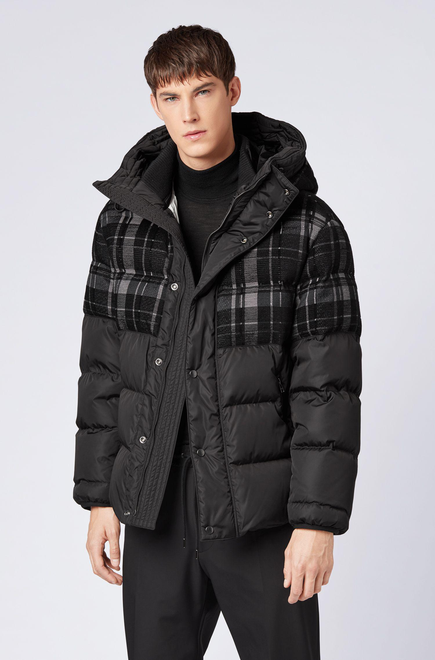 32b1f4915 BOSS Black Hooded Down Puffa Jacket With Woven Checked Panel for men