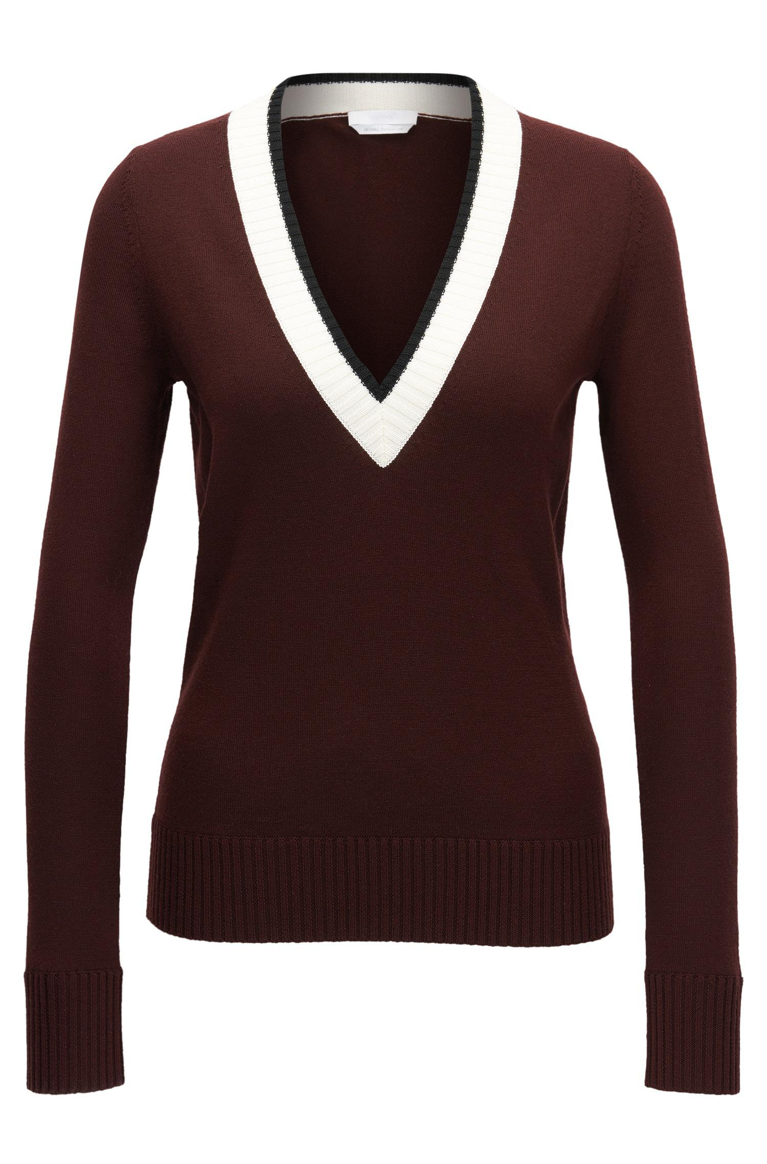 Cheap Visit New Cheap Sale Fashionable Crew-neck sweater in virgin wool BOSS Clearance Purchase Clearance Cheap Online Discount Choice Ez3uc
