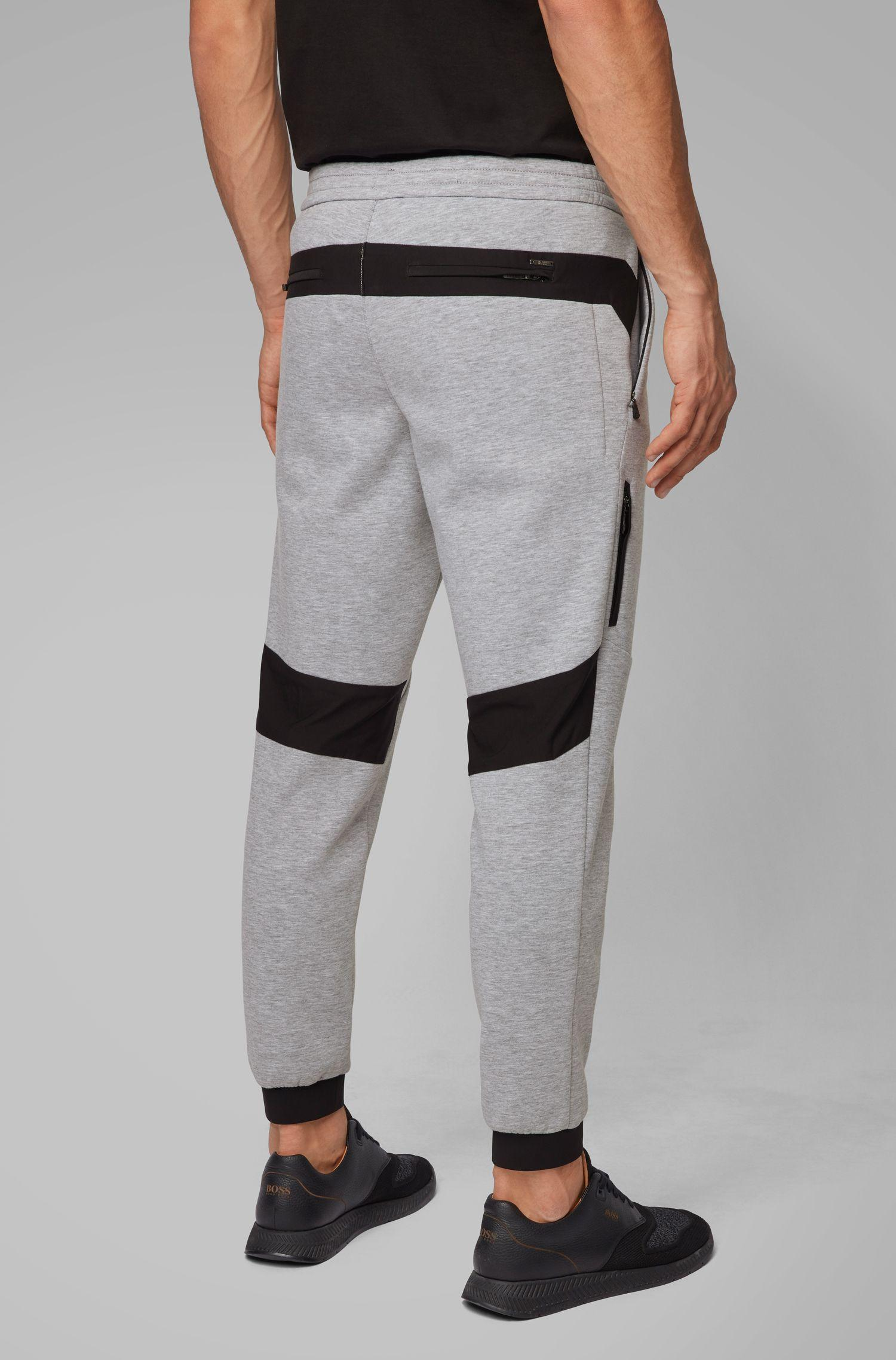ac29aaa9c3 BOSS - Gray Tapered-fit jogging Bottoms In Italian Jersey for Men - Lyst.  View fullscreen