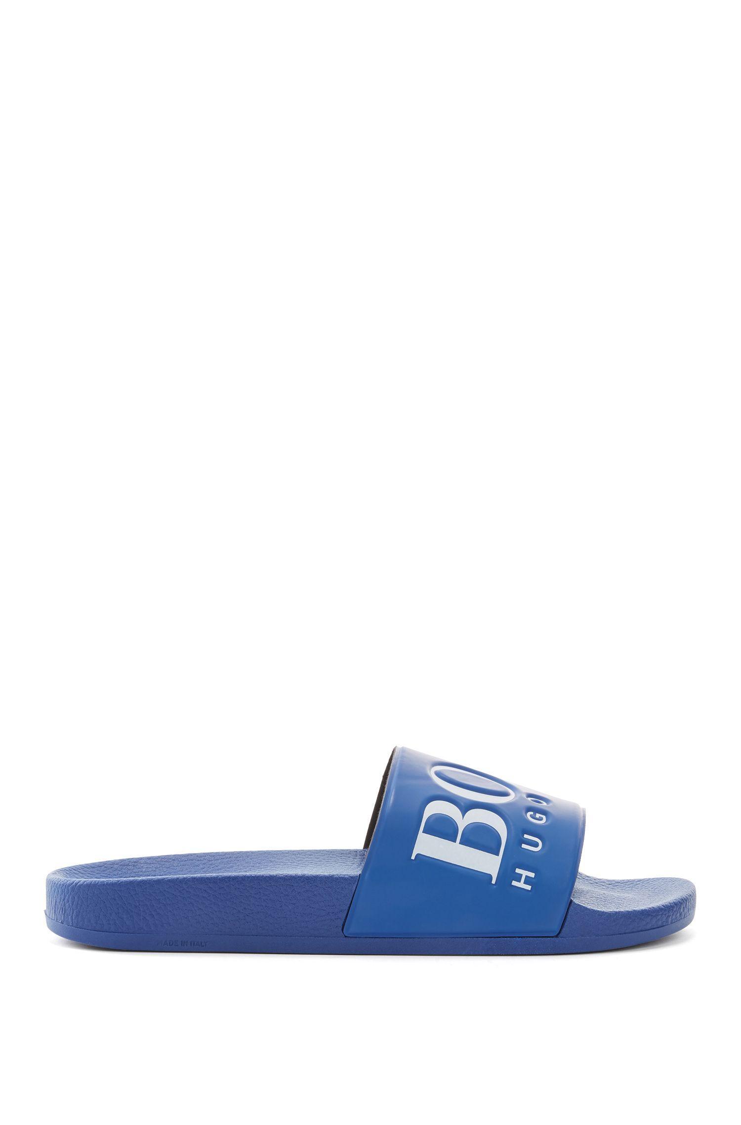 9dfb4a58c BOSS Boss Rubber Contrast Logo Slider Flip Flops in Blue for Men - Lyst