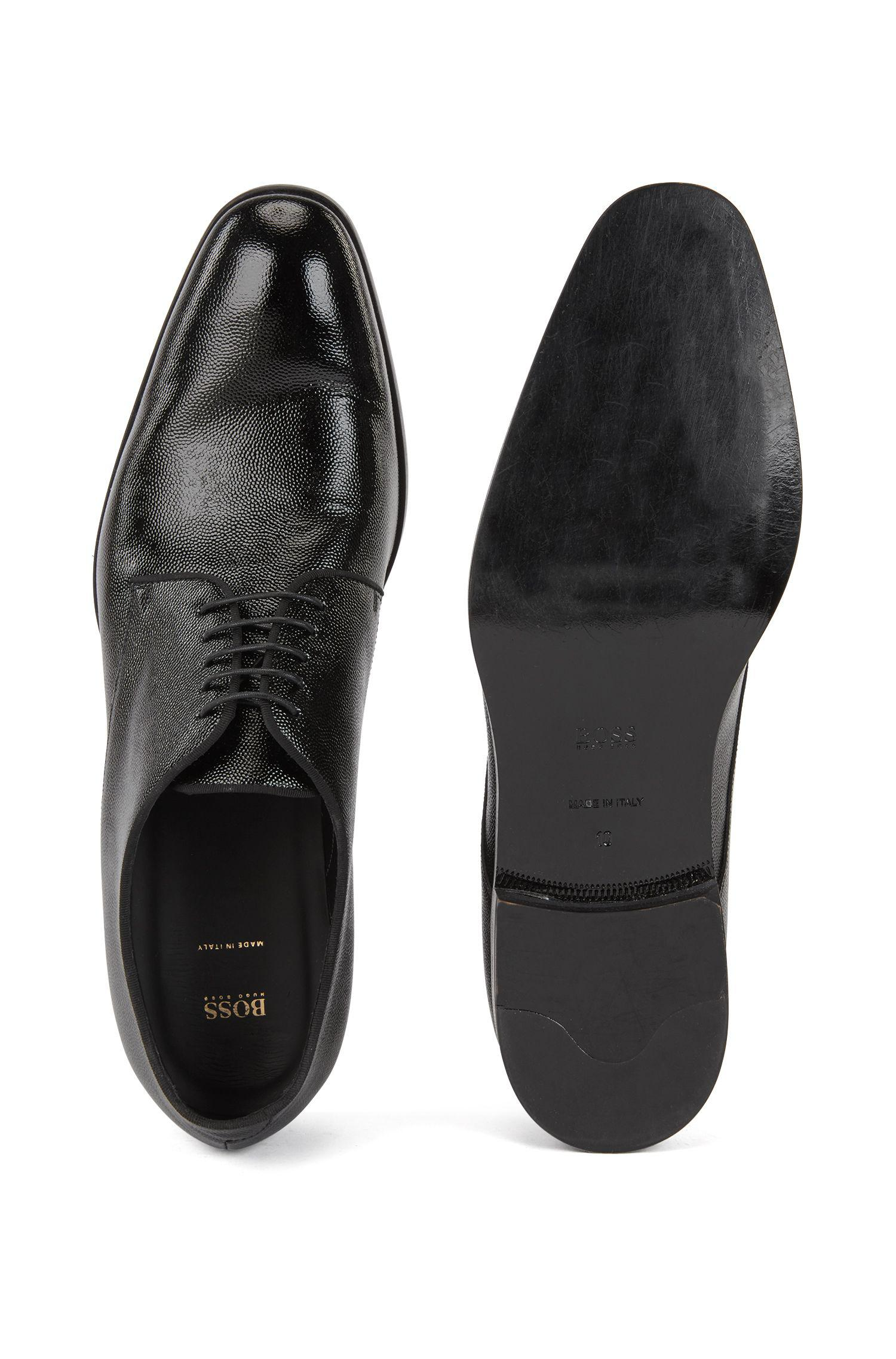8eb4da7b1 BOSS Italian-made Derby Shoes In Emed Patent Leather in Black for Men -  Save 30% - Lyst