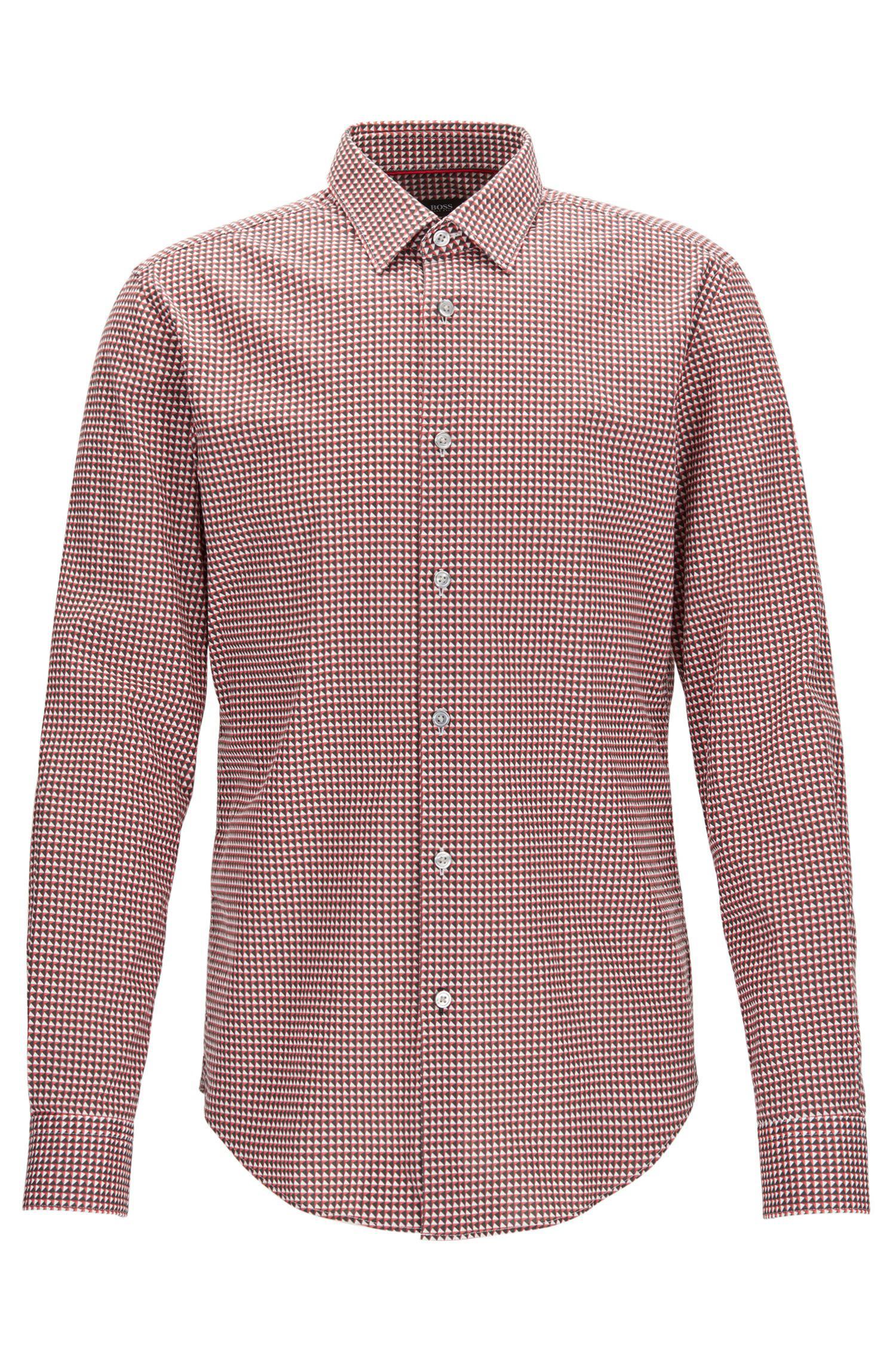 6a995bdb BOSS Geometric Stretch Cotton Sport Shirt, Slim Fit   Ronni F in Red ...