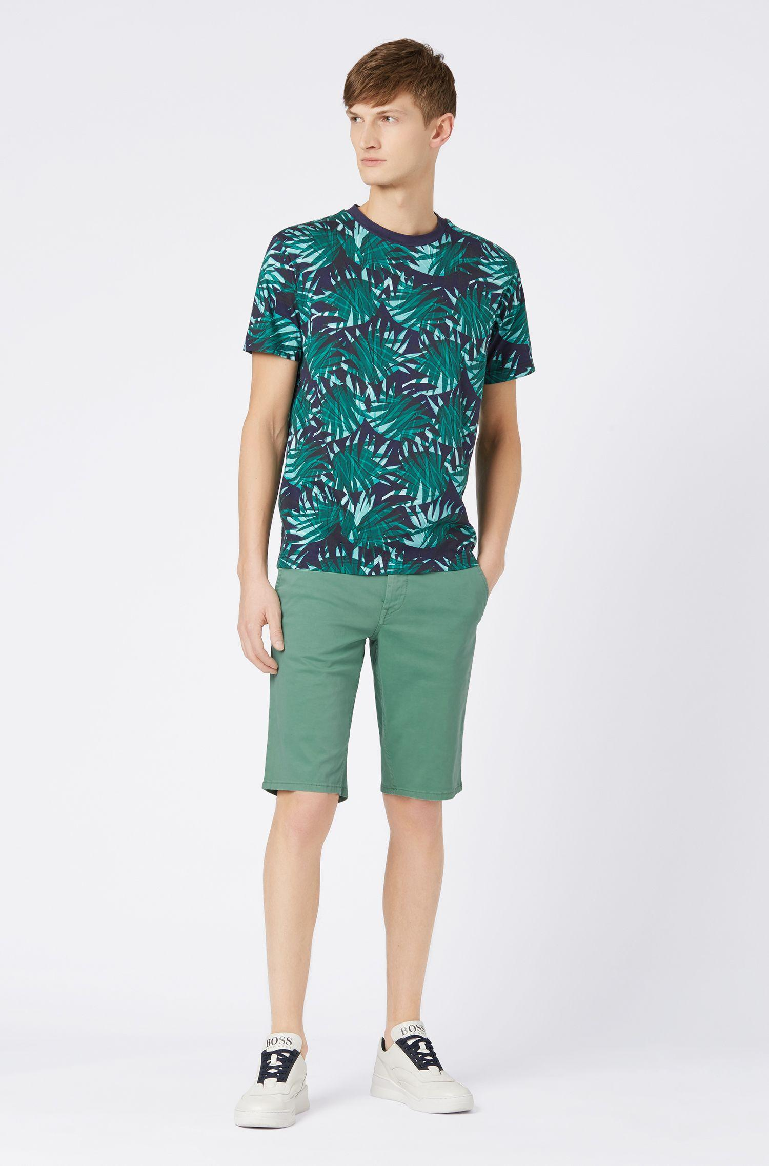 01781e966 BOSS - Green Slim-fit Chino Shorts In Double-dyed Stretch Satin for Men.  View fullscreen