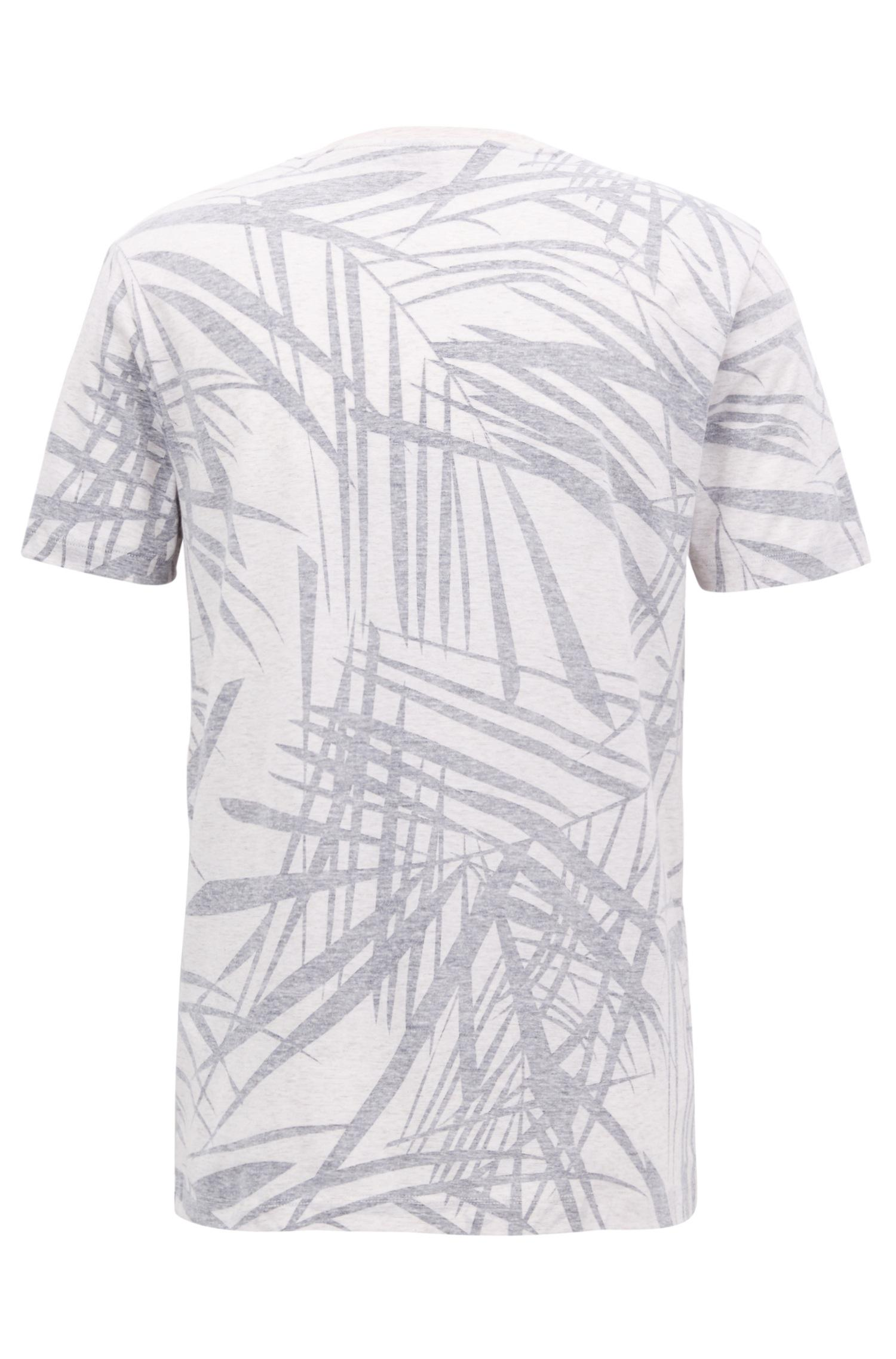 f35d69f6 Lyst - BOSS Leaf-print Cotton Linen T-shirt | Tessler in Natural for Men