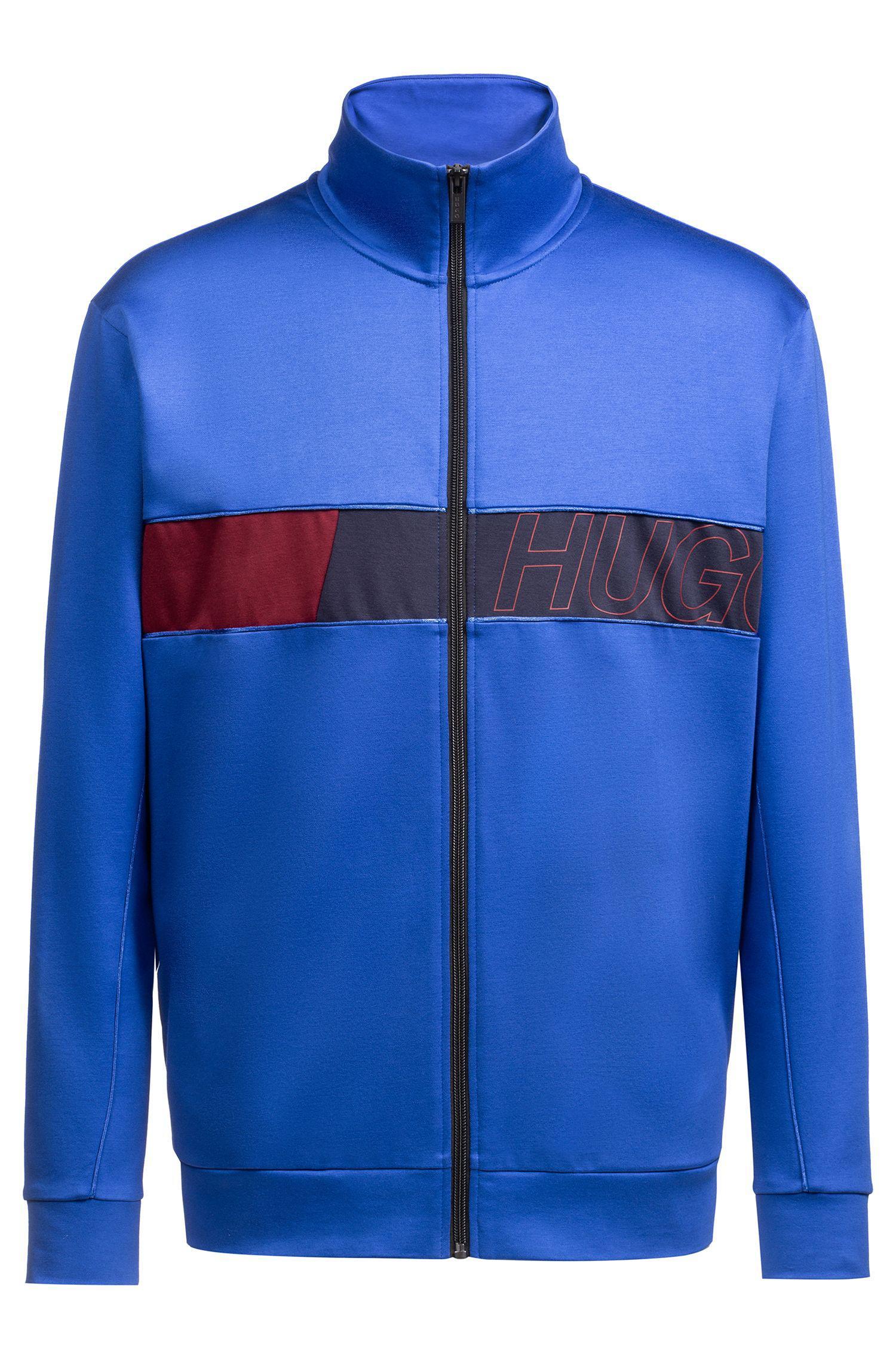06fd6a2f0372 HUGO Logo-print Cotton-jersey Sweatshirt in Blue for Men - Lyst