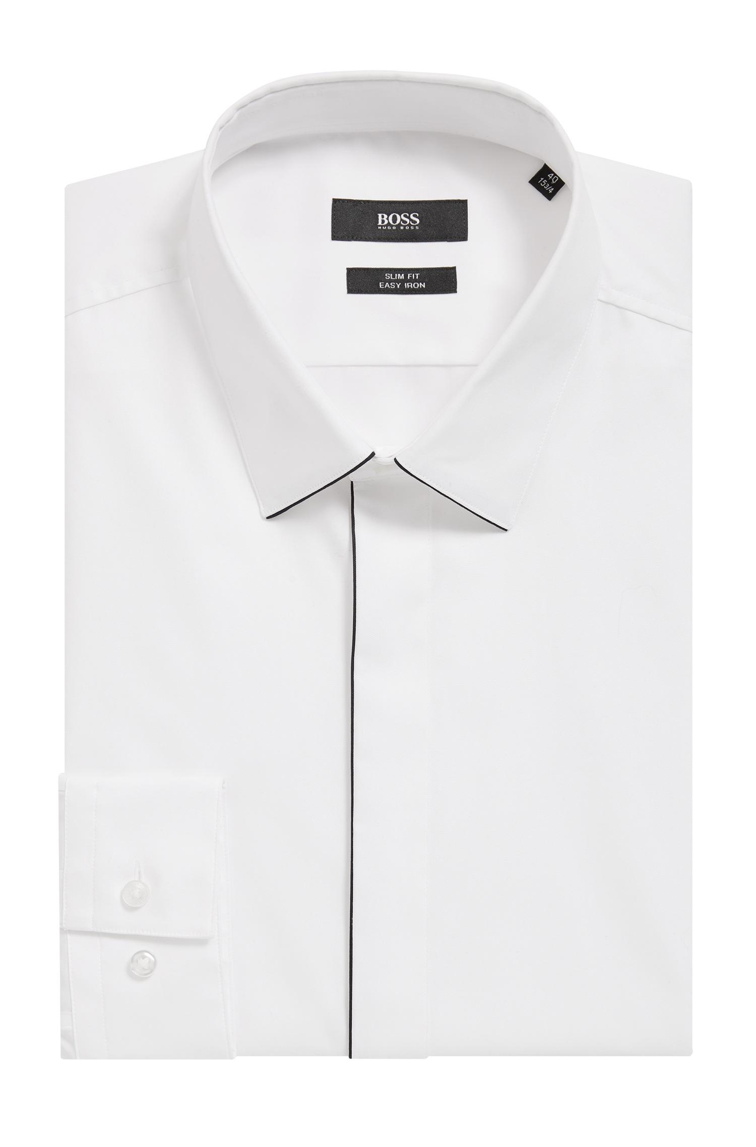 06aba6644 BOSS - White Easy-iron Slim-fit Shirt With Contrast Piping for Men -. View  fullscreen
