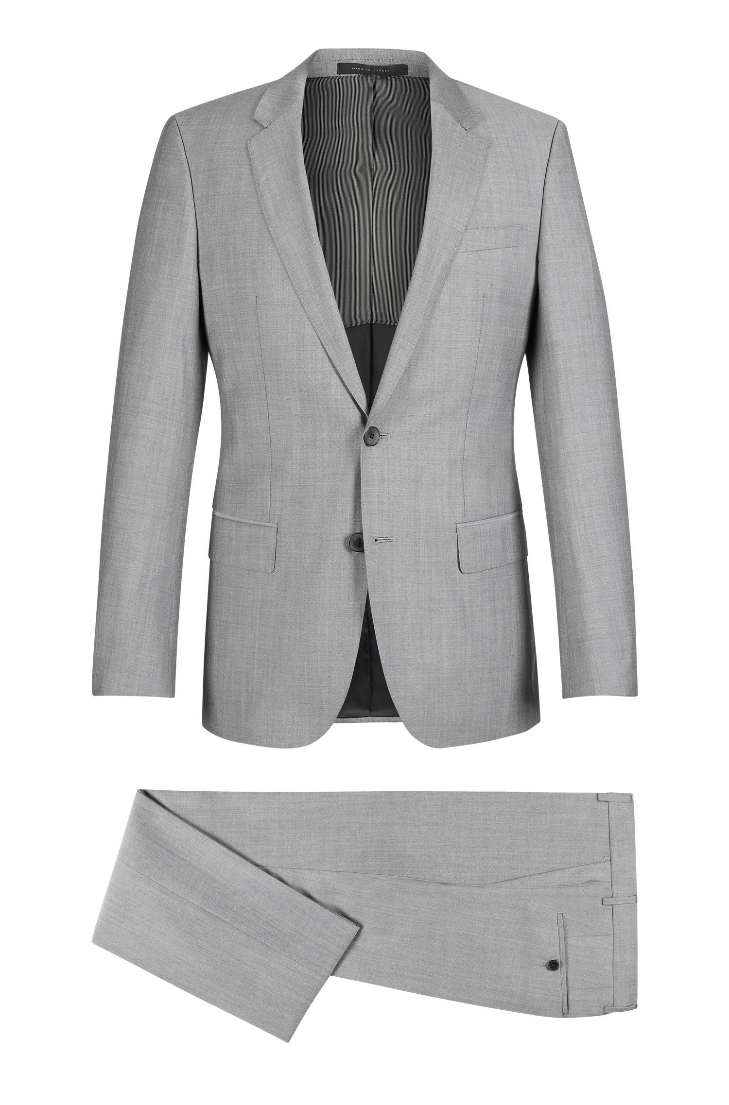 331b53f9 BOSS. Men's Gray Italian Super 110 Virgin Wool Suit, Slim Fit | Huge/genius