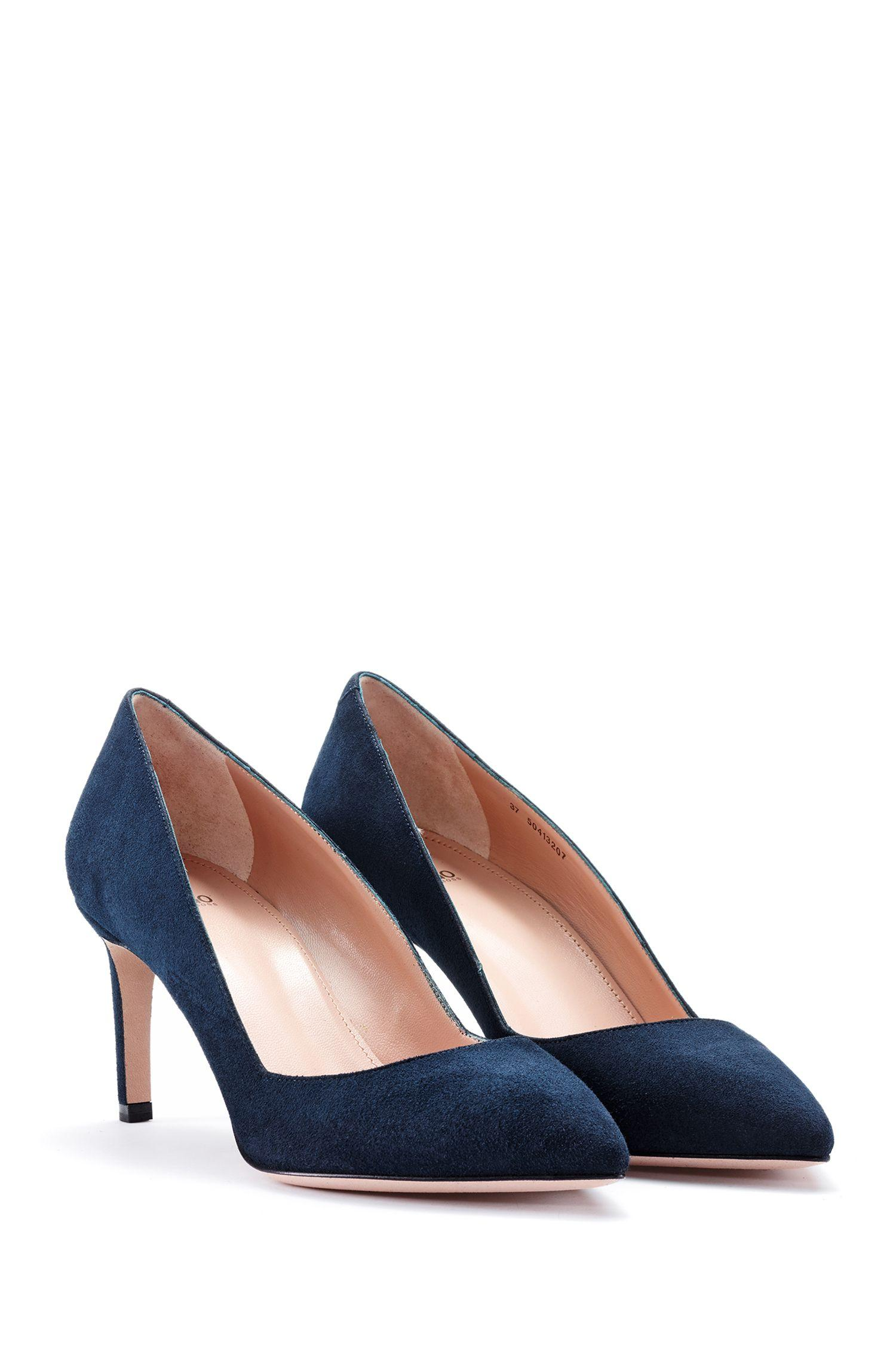 f6b514a00d5 HUGO Pointed-toe Pumps In Italian Suede in Blue - Lyst