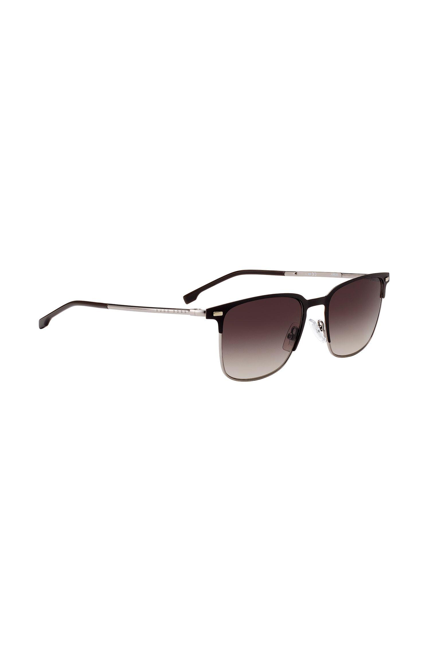 bdd6bccb016 Lyst - Boss Matte-brown Half-frame Sunglasses With Shaded Lenses in ...
