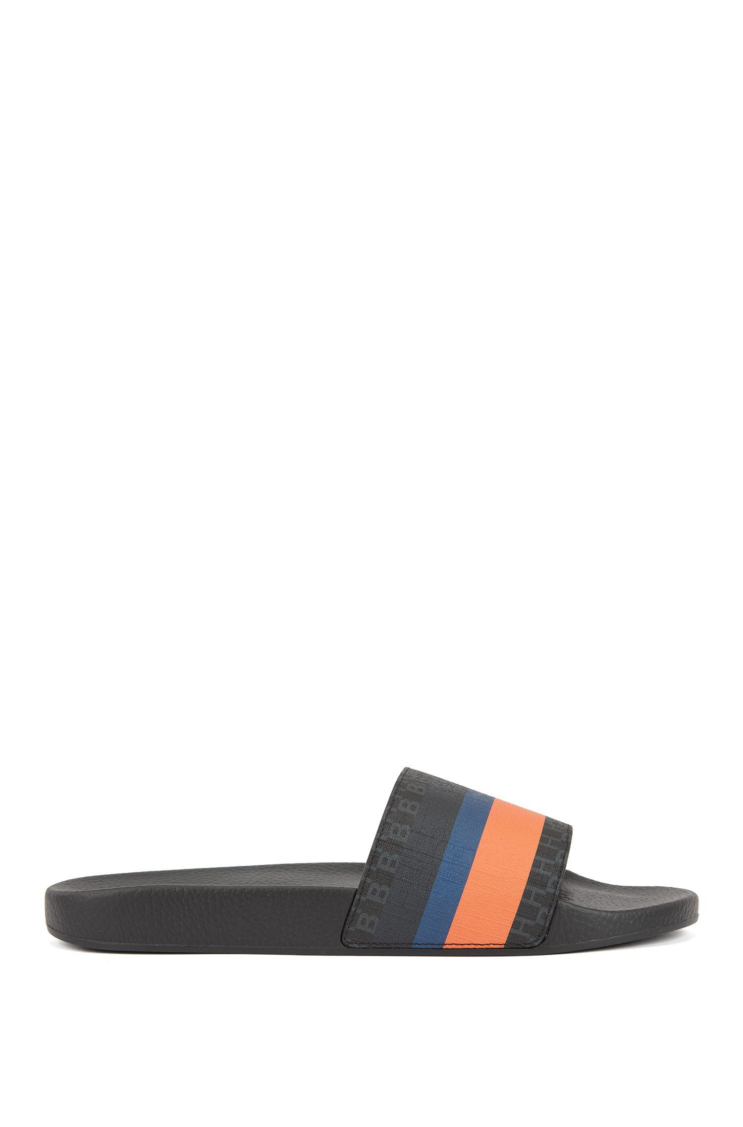 7a25a454e26a Boss Slider Sandals With Monogram Strap And Calf-leather Lining in ...